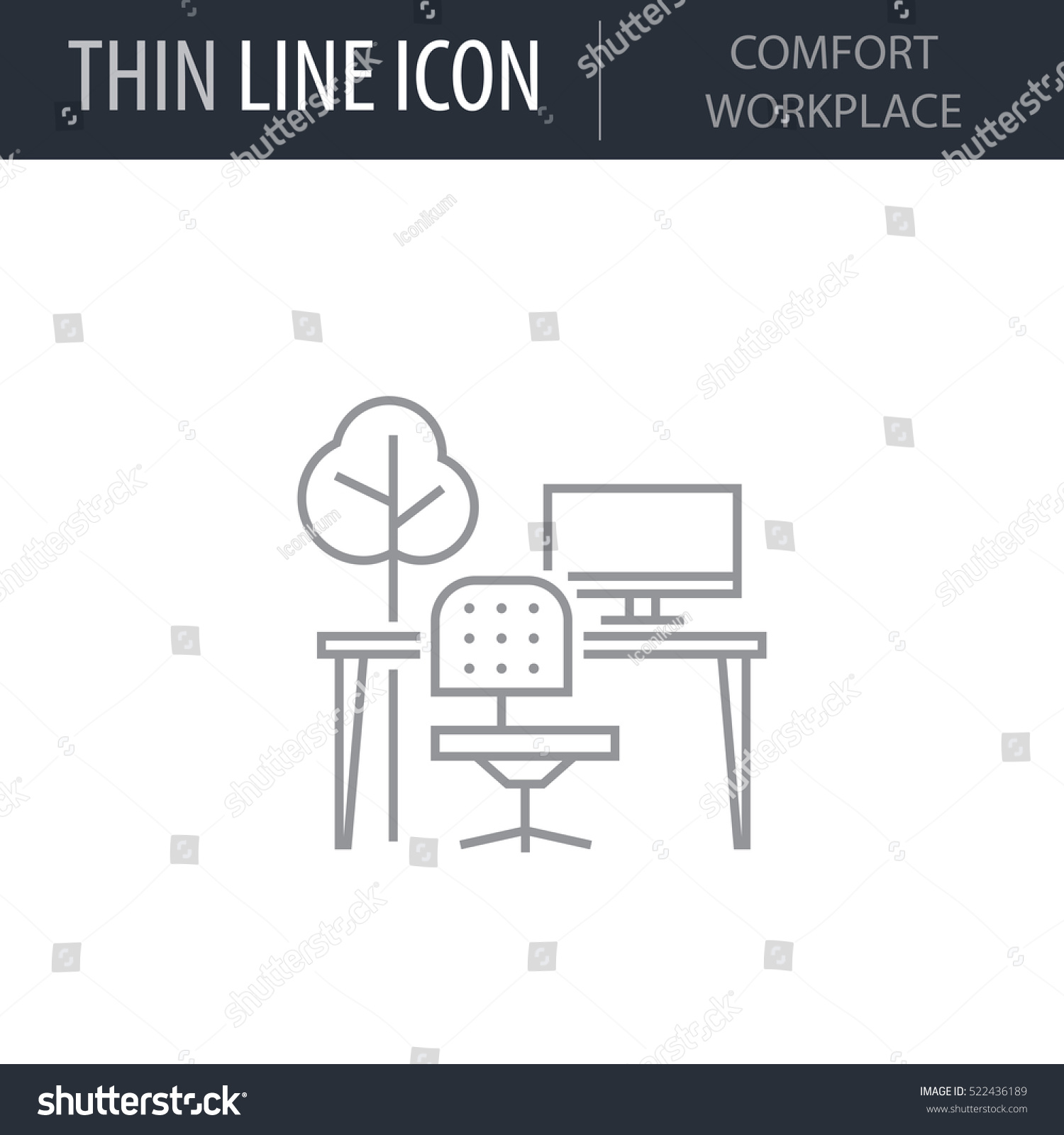 Symbol comfort workplace thin line icon stock vector 522436189 symbol of comfort workplace thin line icon of productivity and concentration stroke pictogram graphic biocorpaavc