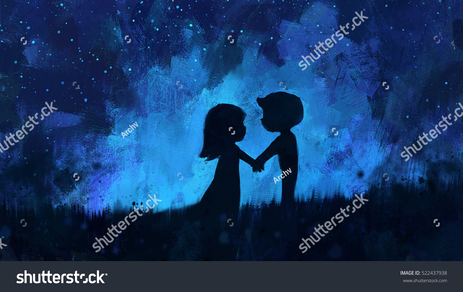 Digital painting of young couple in love holding hands in night sky acrylic sketched on