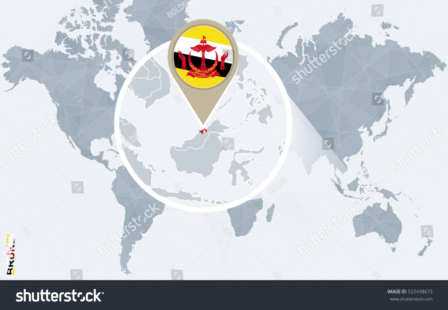 Abstract Blue World Map Magnified Brunei Stock Illustration