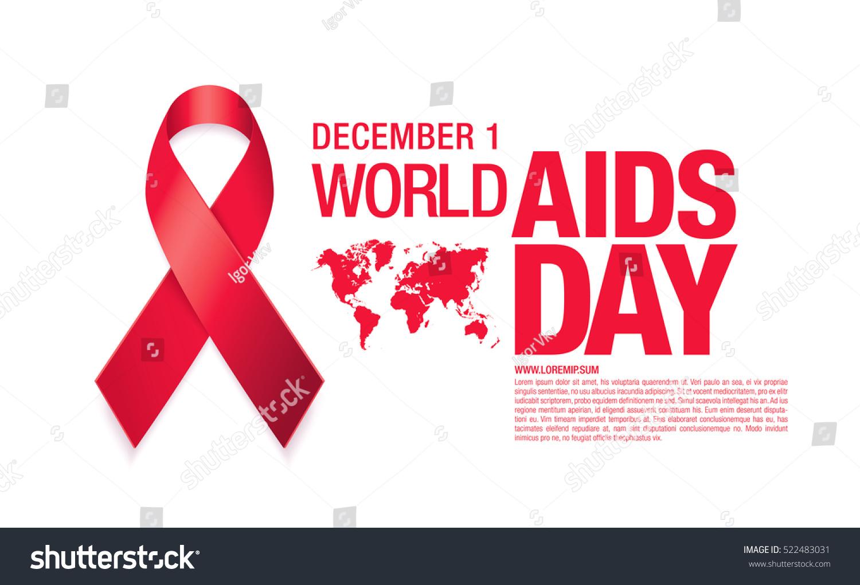 December 1. World Aids Day Poster. Awareness Ribbon ...