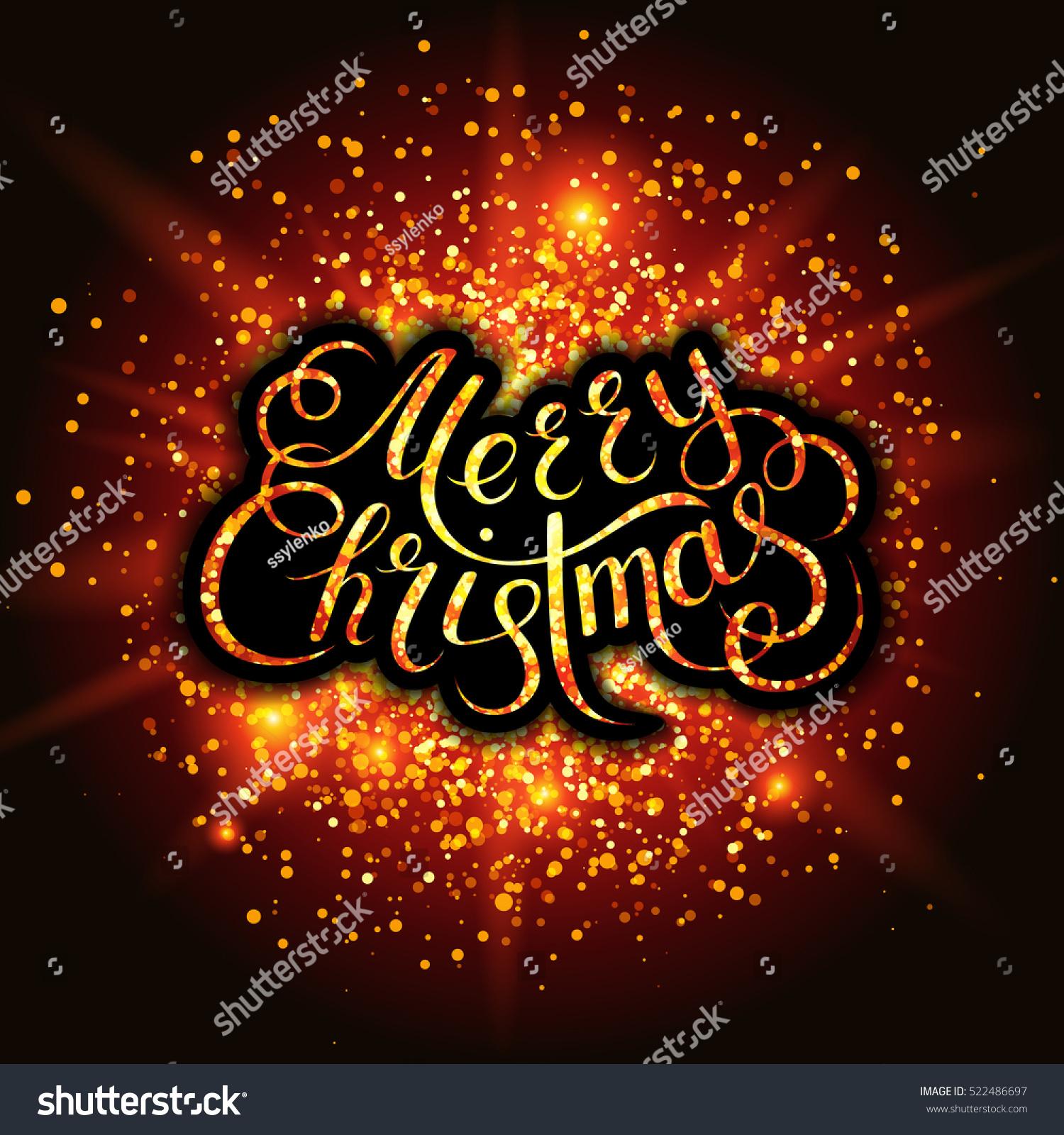 Merry Christmas Snowflakes Fireworks Effect Handwritten Stock ...