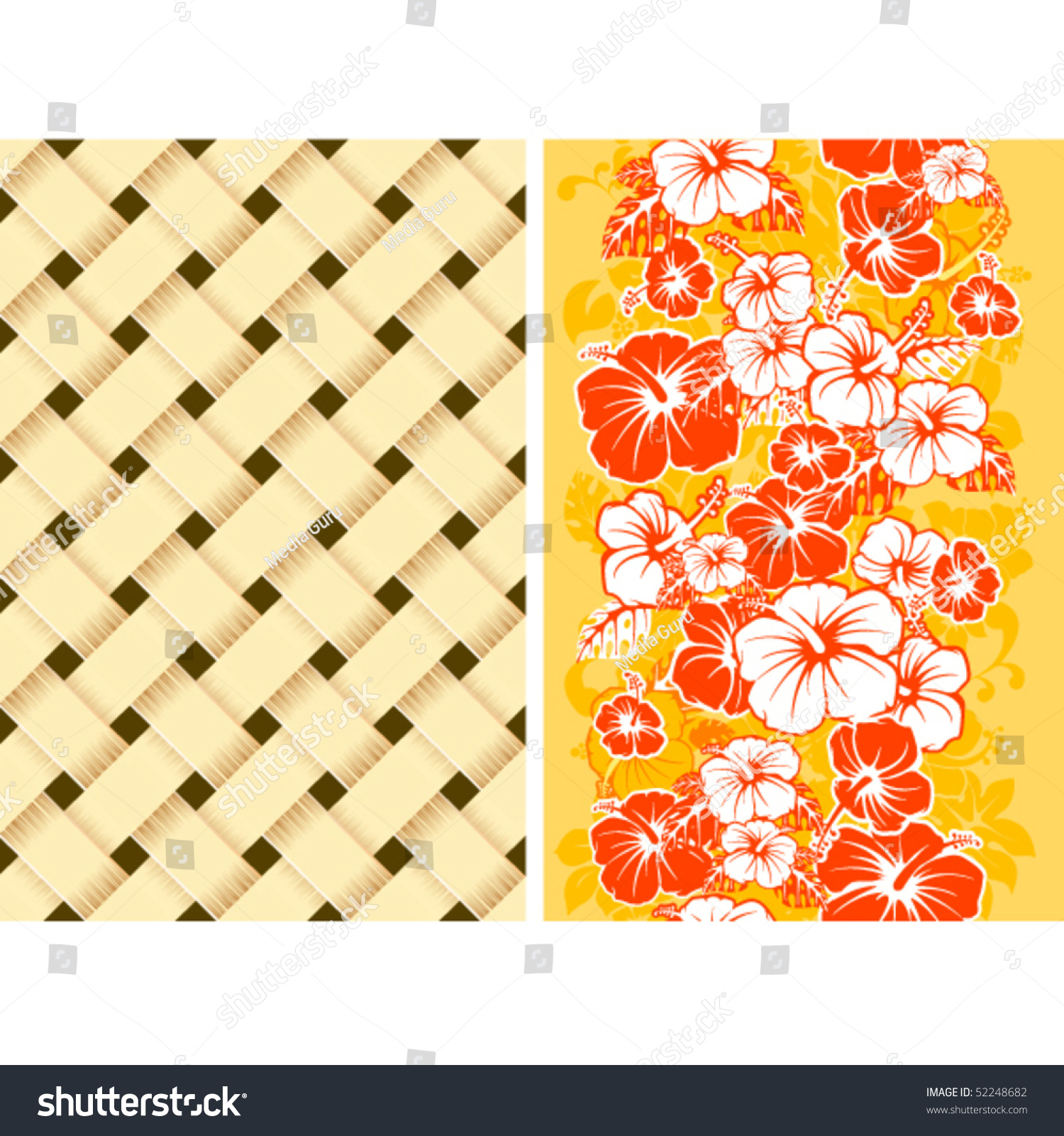 Hawaiian Floral Seamless Background Hibiscus Stock Vector Royalty