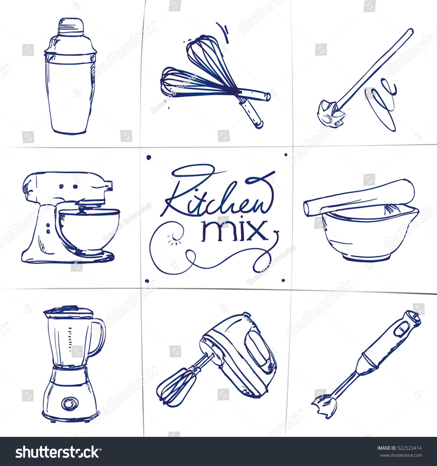 Cartoon Food Processor ~ Doodle set kitchen mixer shaker whisk stock vector