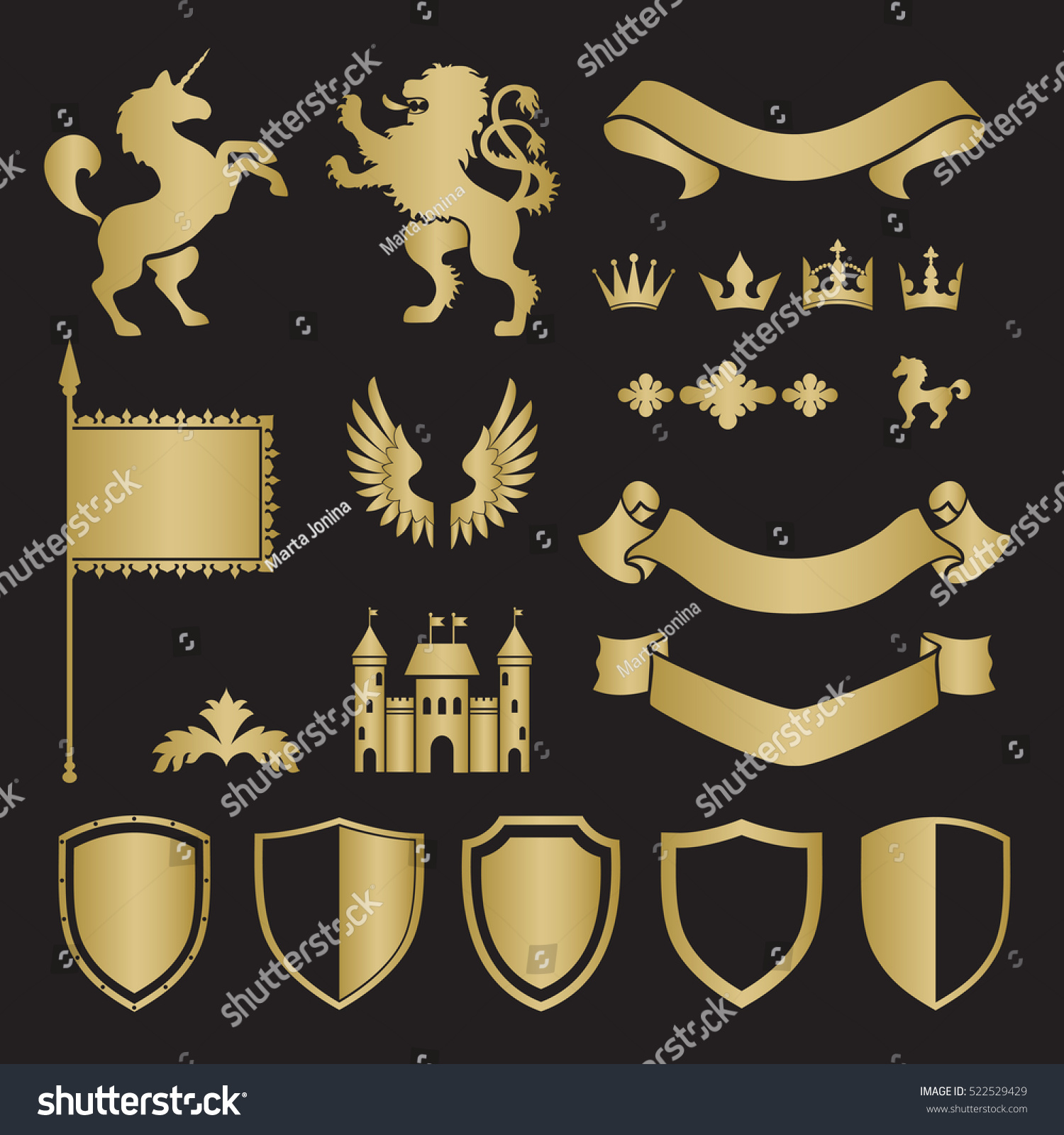 Heraldic Silhouettes Signs Symbols Safety Security Stock Vector