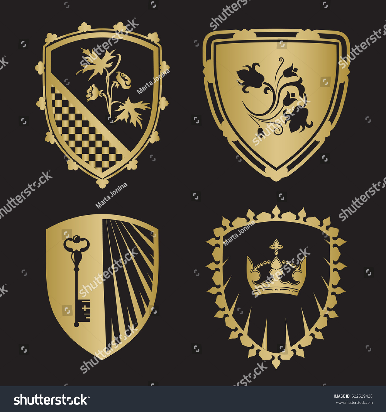 Coat Arms Shield Silhouettes Crown Key Stock Vector Royalty Free