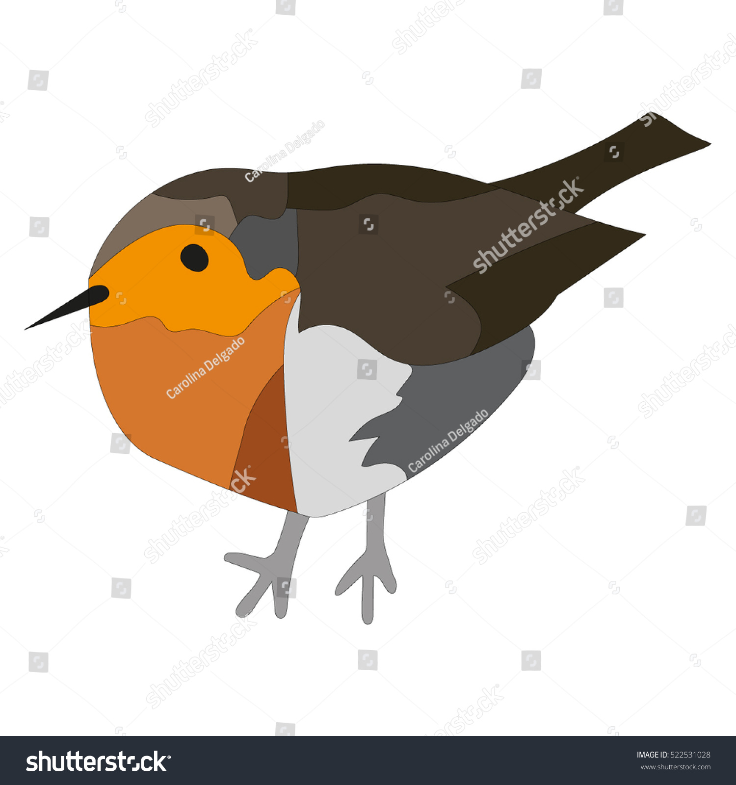 simple minimal vector illustration robin use stock vector
