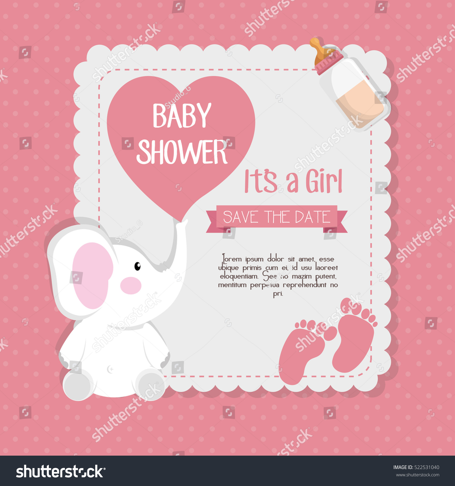 Baby Shower Invitation Card Stock Vector Shutterstock