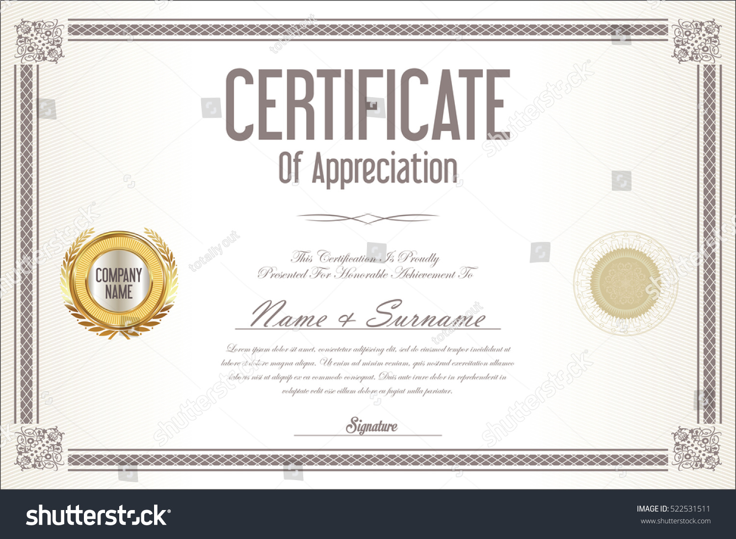 Certificate template retro design background stock vector certificate template retro design background xflitez Images