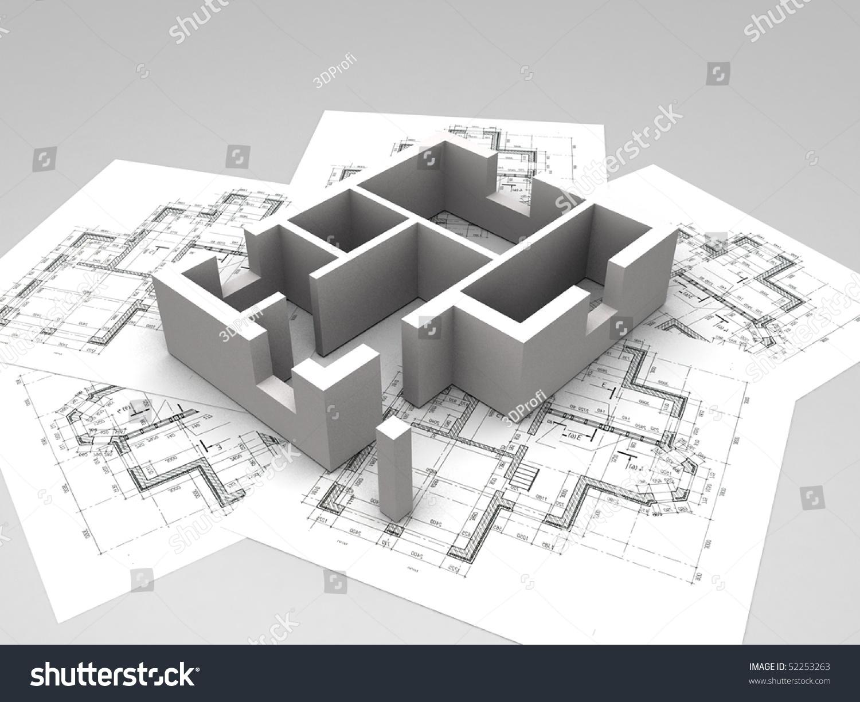 3d Plan On Op Of Rchitecture Blueprints Illustration
