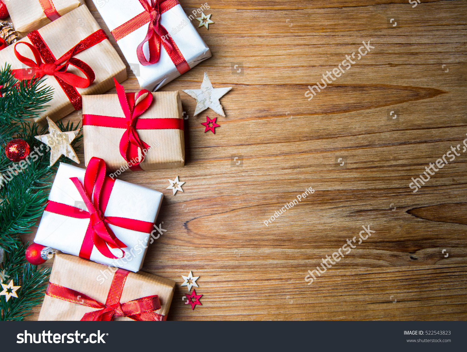 Christmas wooden background view tree gift stock photo