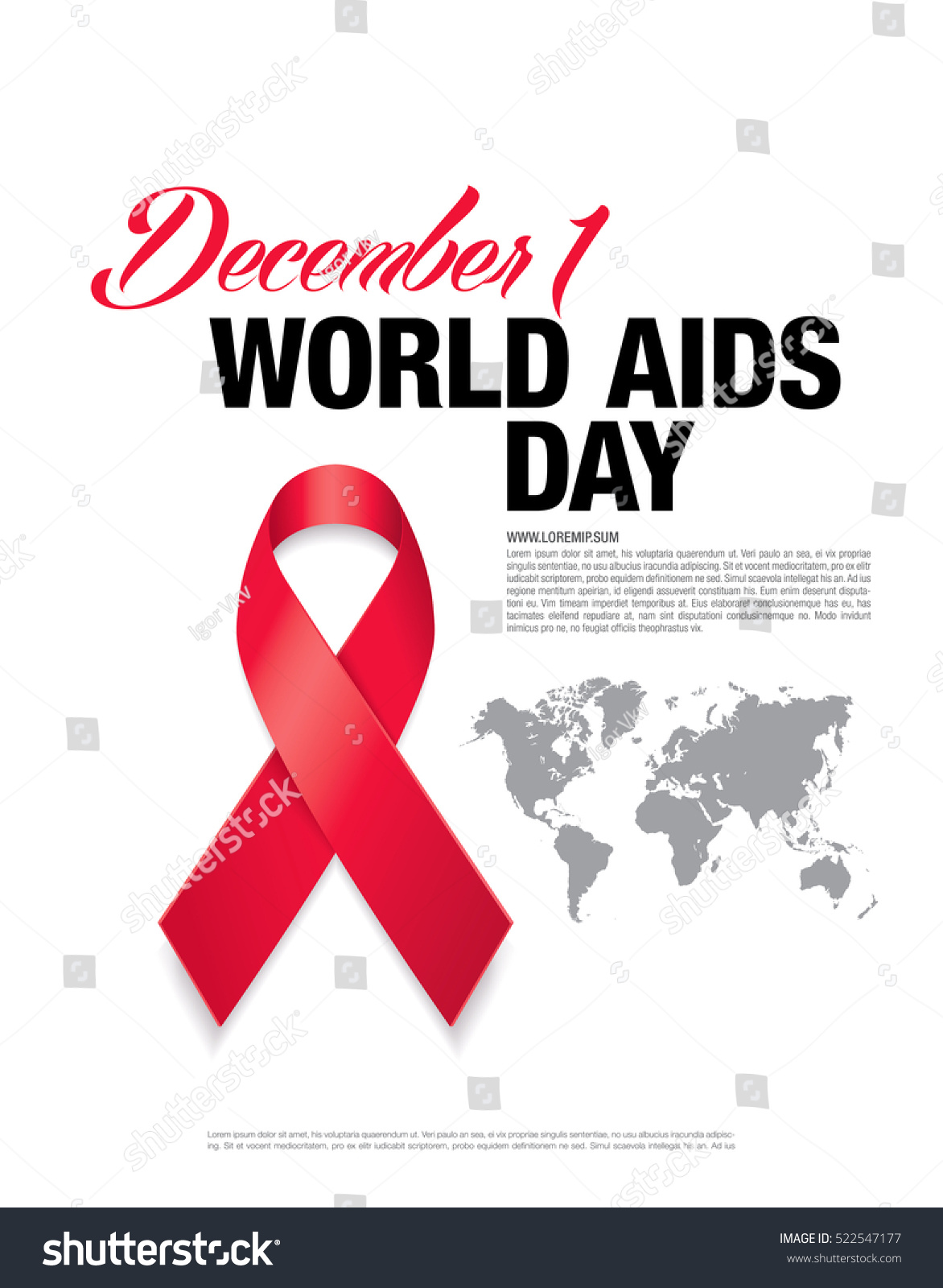 December 1. World Aids Day Poster. Stock Vector 522547177 ...
