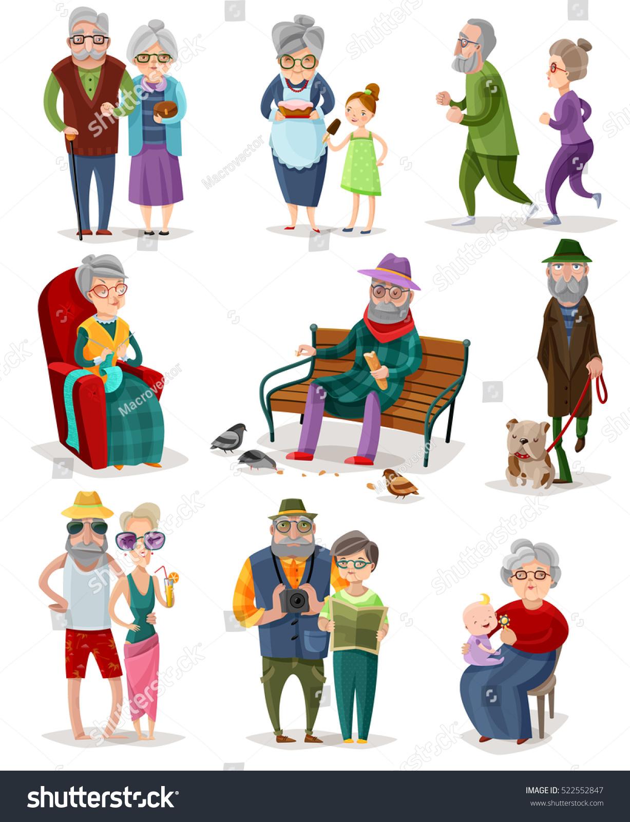 Senior People Cartoon Set Different Activities Stock