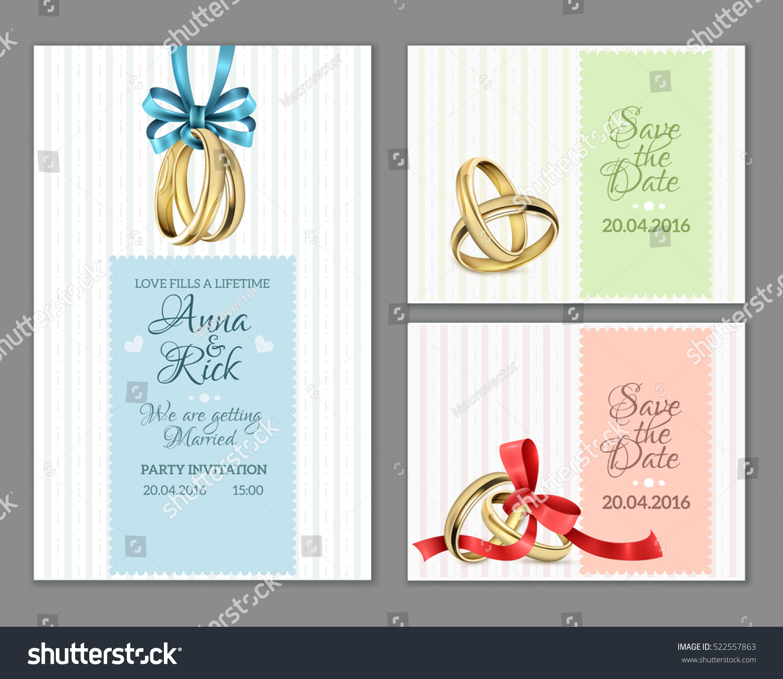 Celebrate Invitation Wedding Cards Gold Rings Stock Vector (2018 ...