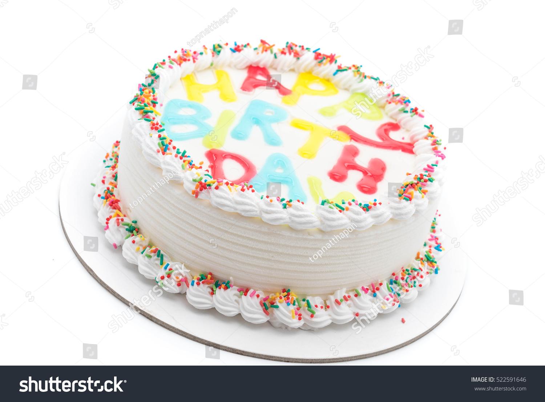 Happy Birthday Cake On White Background Stock Photo Edit Now
