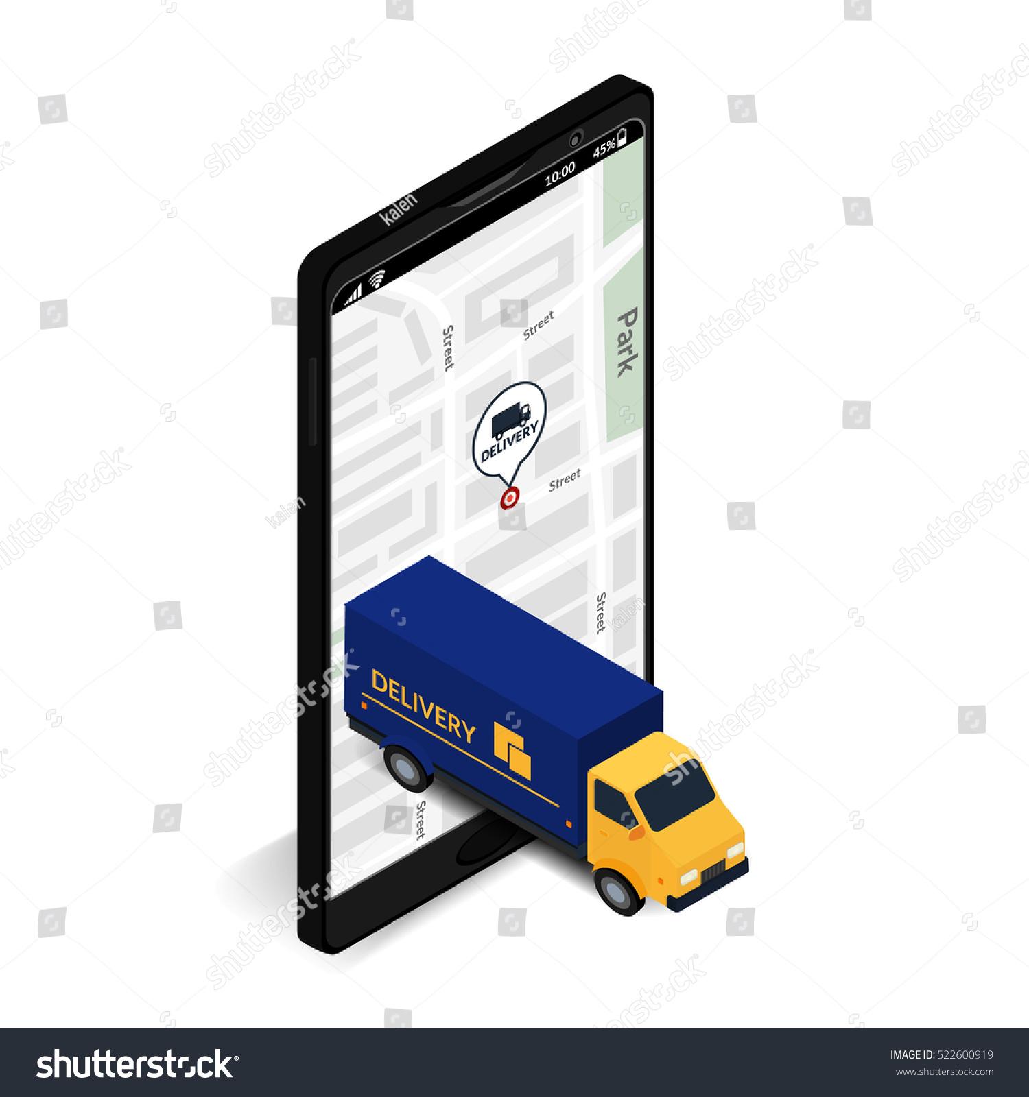 Vector Illustration Truck Mobile Phone Stock Vector