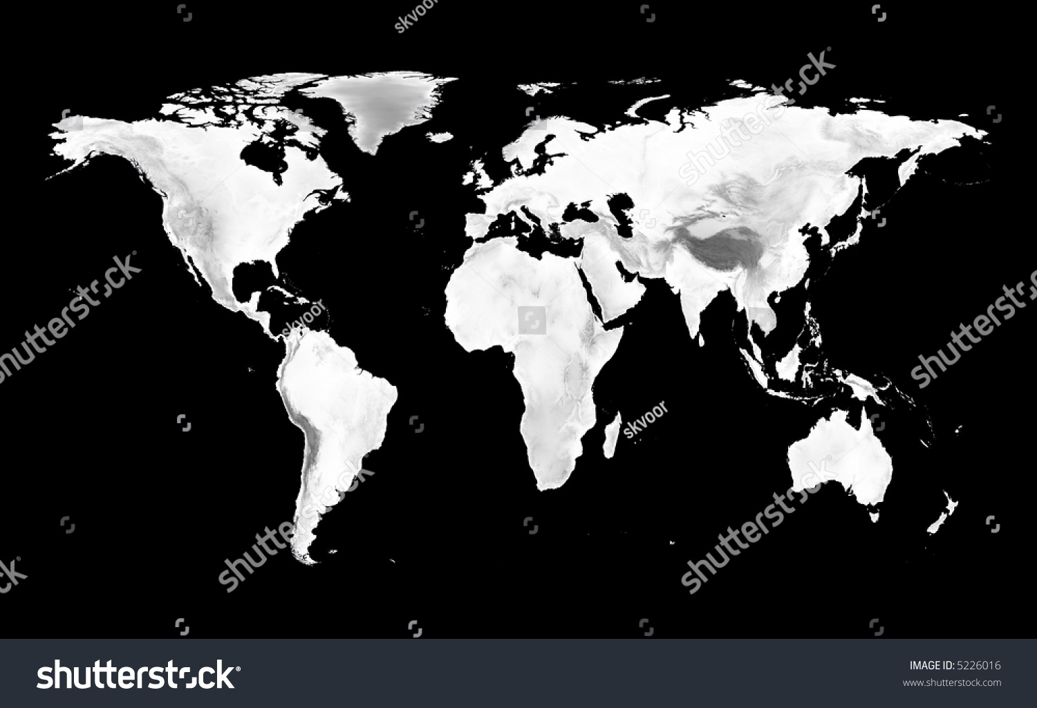 World map grayscale elevation on black stock illustration 5226016 world map with grayscale elevation on black background gumiabroncs Gallery