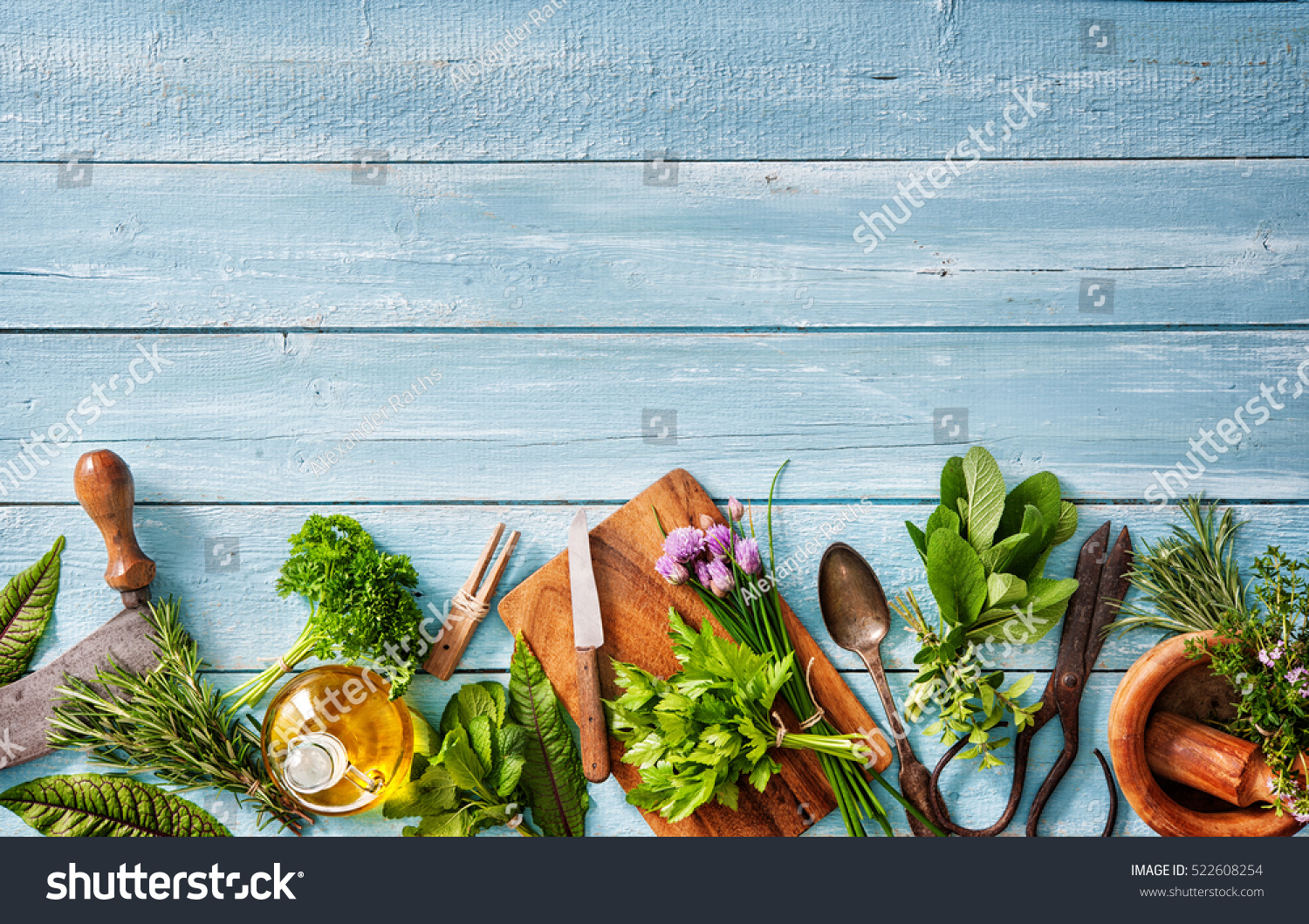 Fresh Kitchen Herbs Spices On Wooden Stock Photo (Edit Now ...