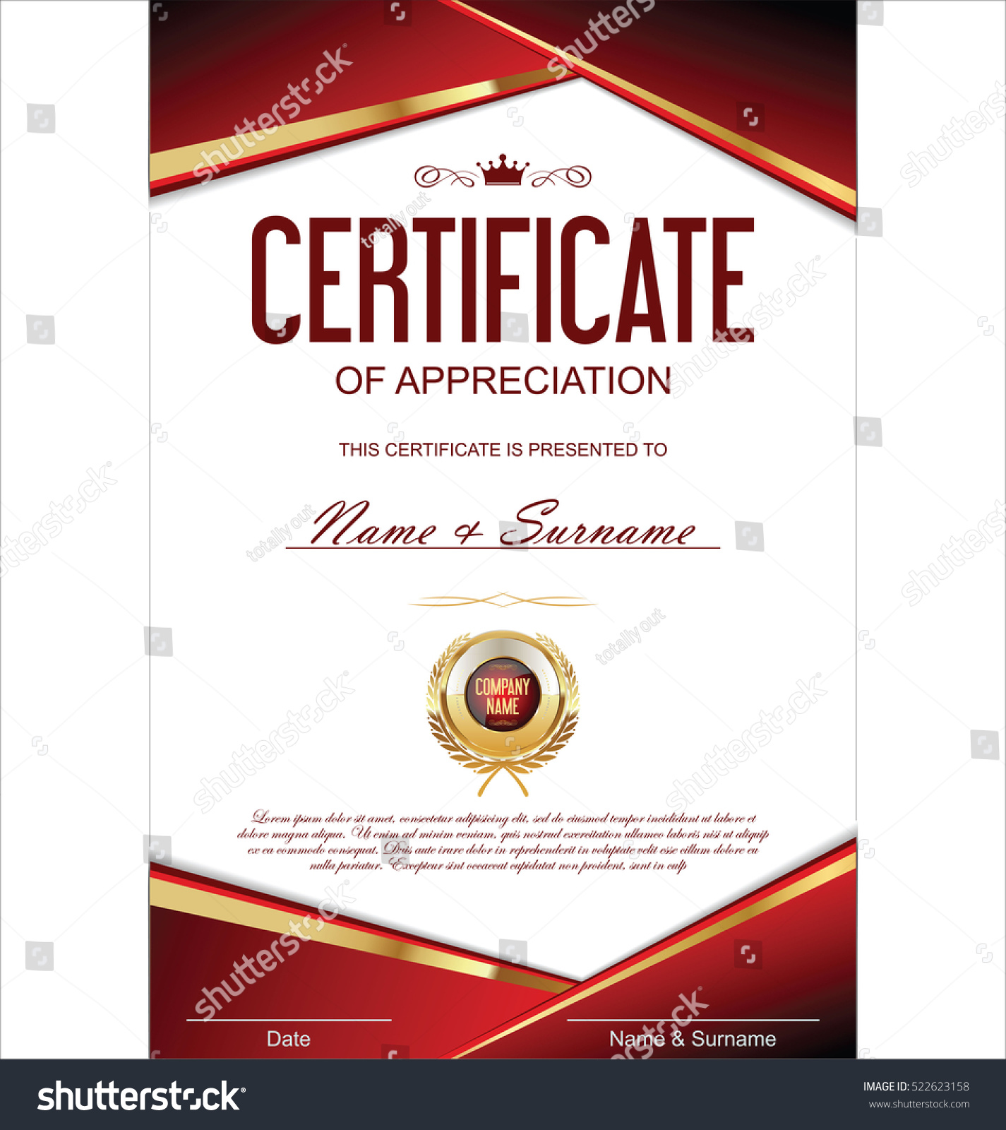 Luxury Certificate Diploma Template Stock Vector Royalty Free