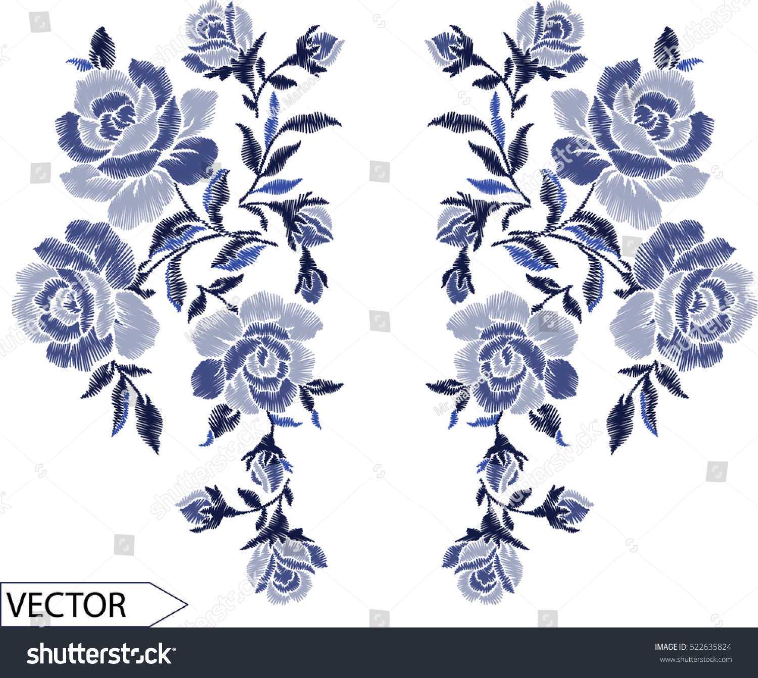 Line Art Embroidery : Embroidery ethnic flowers neck line flower stock vector