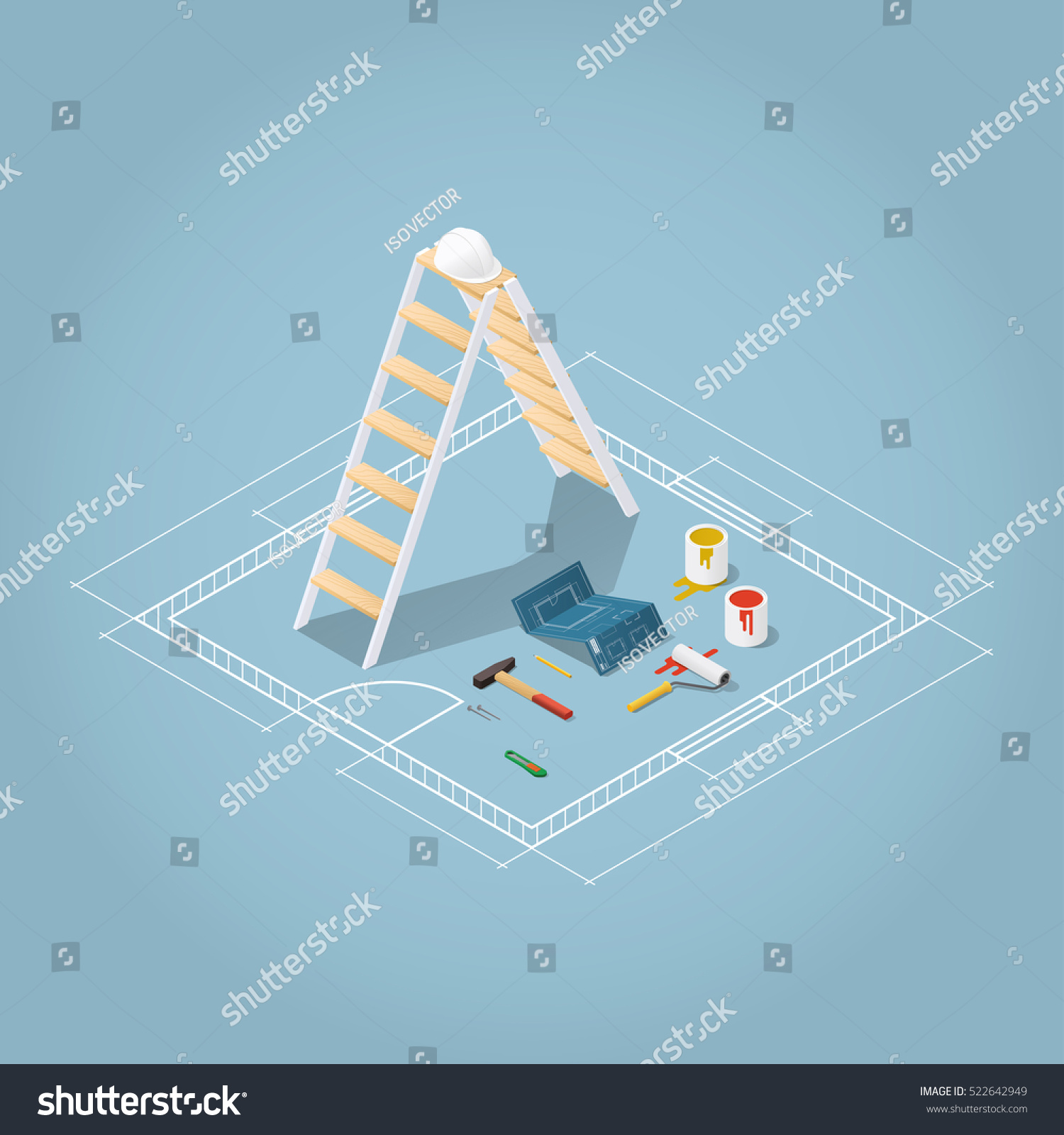Isometric vector apartment room renovation illustration stock vector isometric vector apartment room renovation illustration toolbox set blueprint plan of room buckets malvernweather