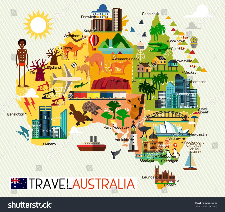Map Australia Travel Icons Australia Travel Stock-Vektorgrafik ...