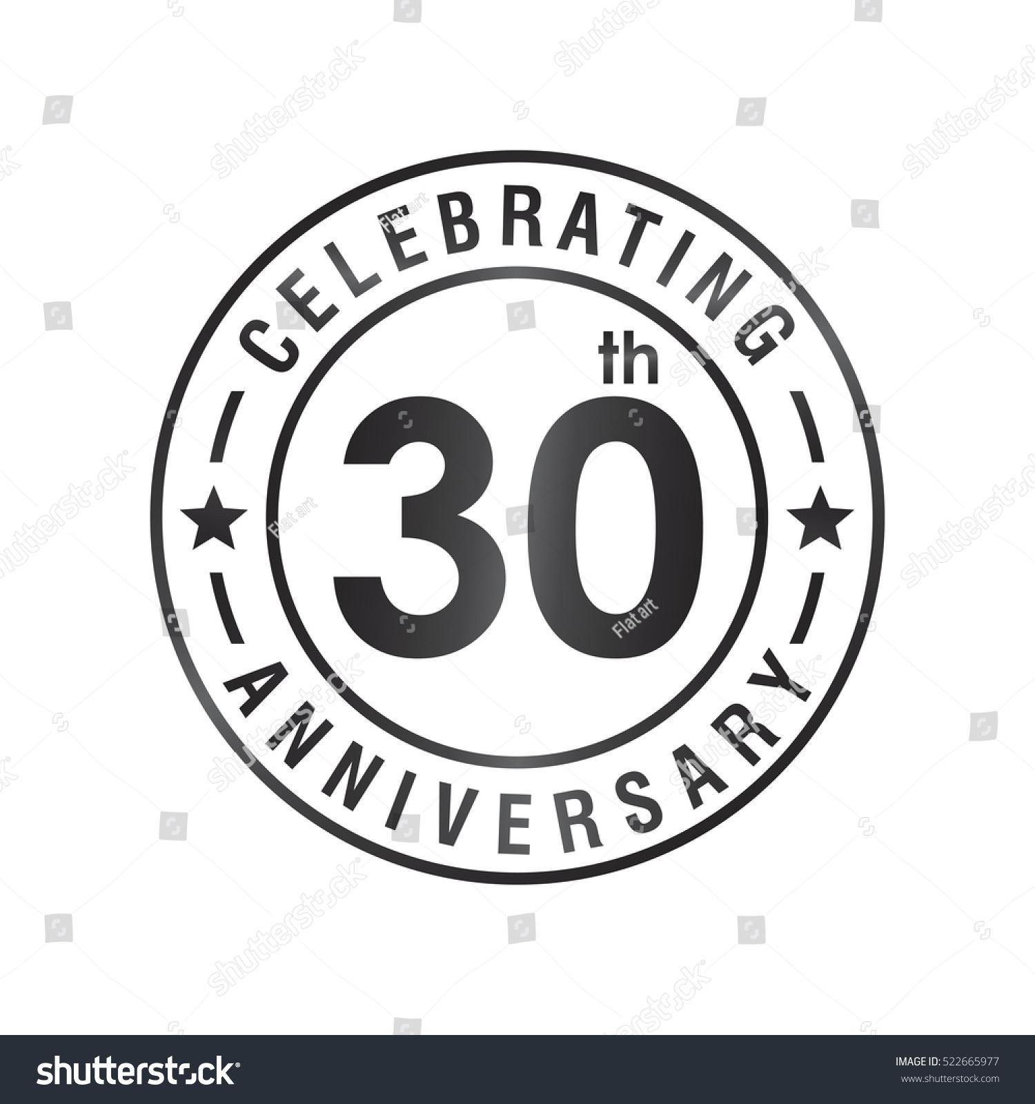 Thirty Anniversary Celebration Logotype 30th Anniversary Stock