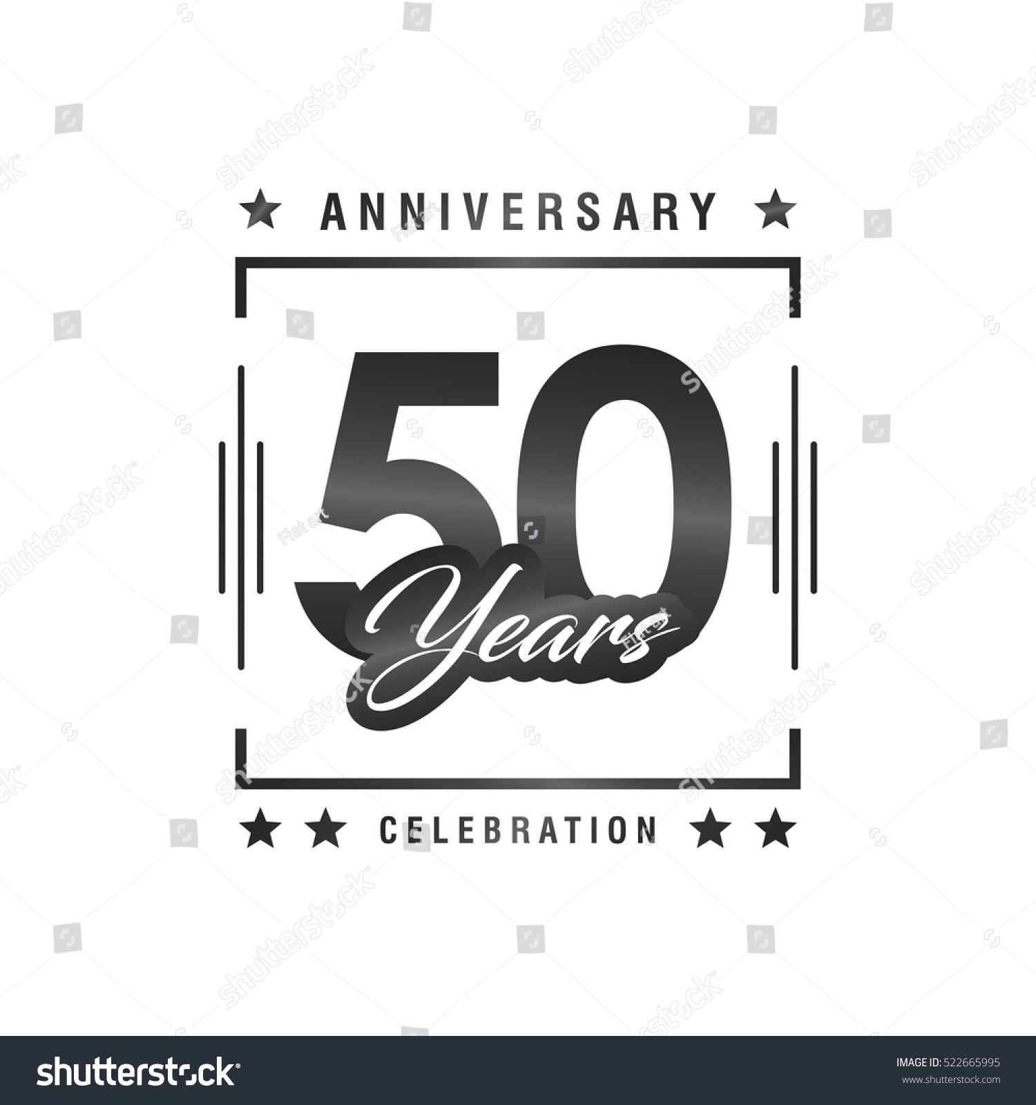 Fifty years anniversary celebration logotype th stock