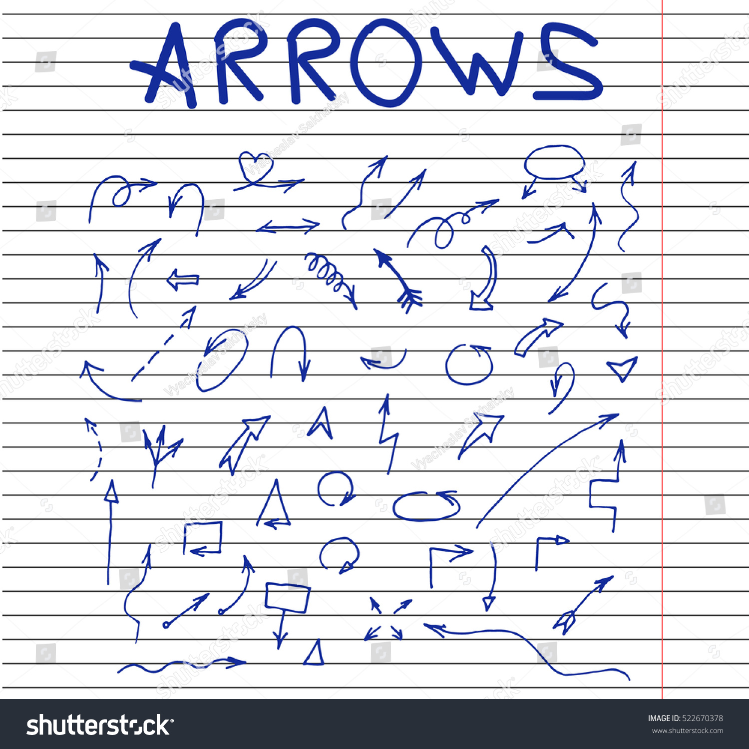 arrows set hand drawn sketched style