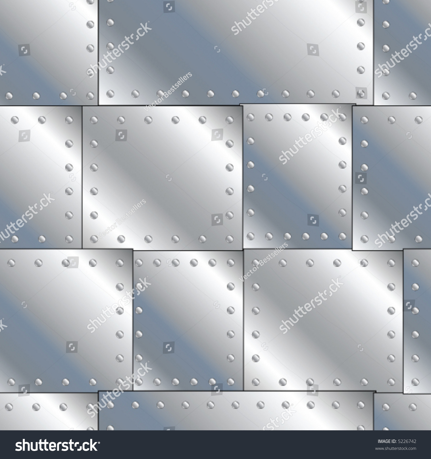 Seamless Vector Texture Riveted Metal Sheets Stock Vector