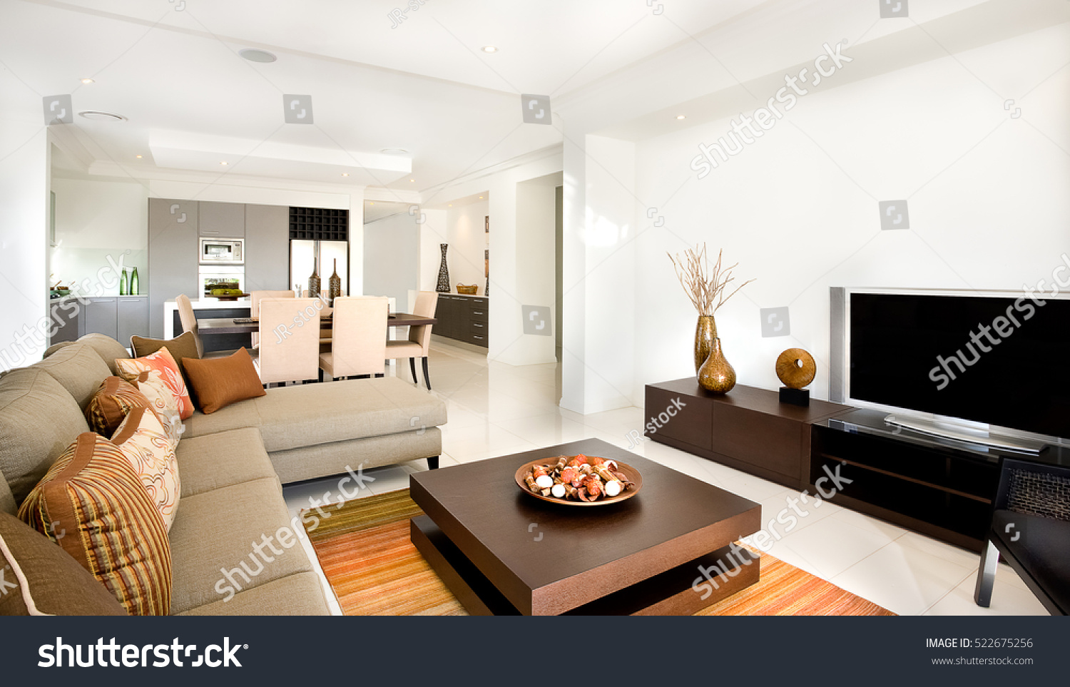 There sofas chairs pillows modern living stock photo - Deco moderne woonkamer ...