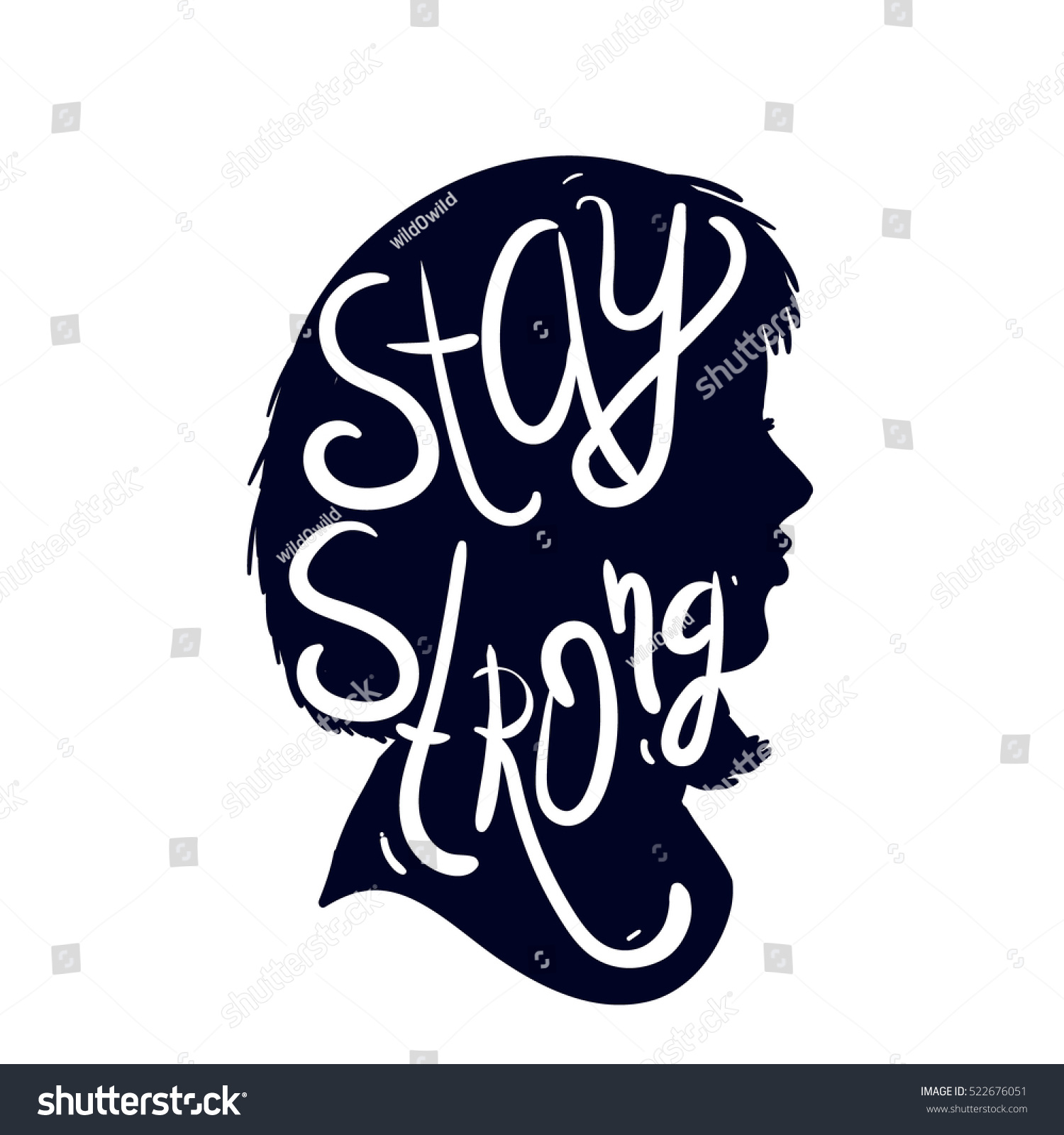 Stay Strong Woman Silhouette Letterng Quote Stock Vector Royalty