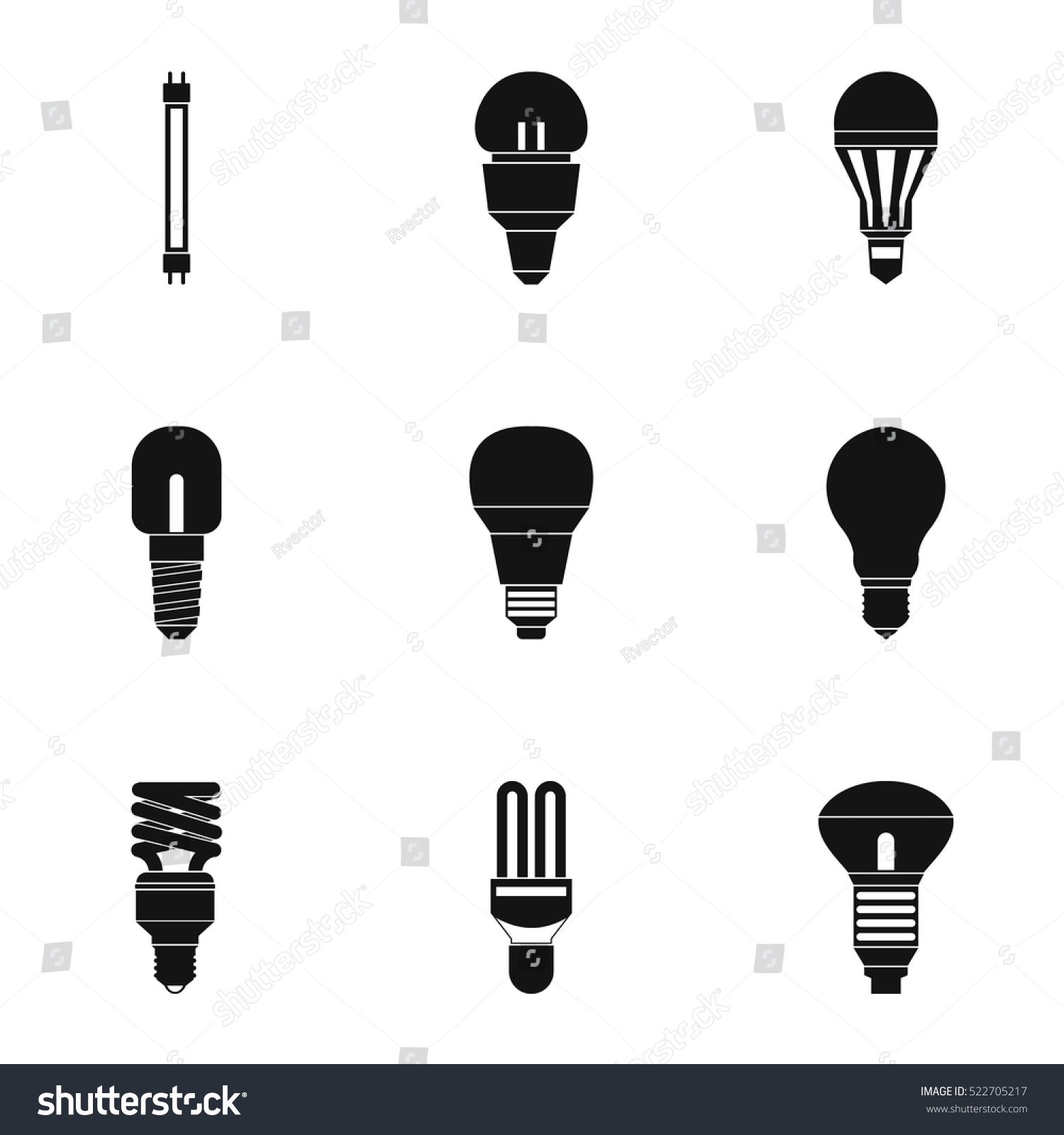 Types Of Lamps Icons Set. Simple Illustration Of 9 Types Of Lamps Vector  Icons For