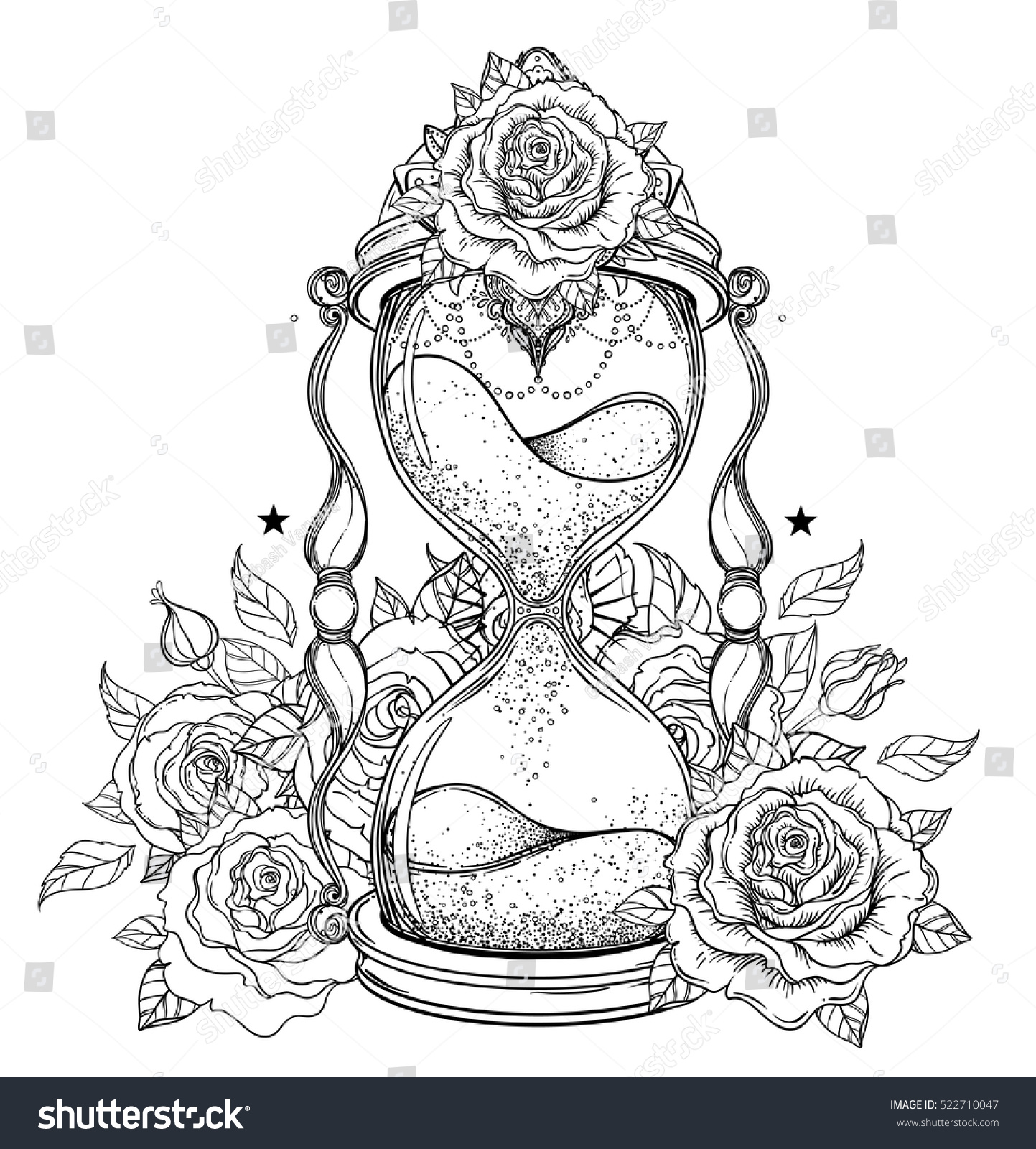 Decorative Antique Hourglass With Roses Illustration Isolated On White Hand Drawn Vector Art