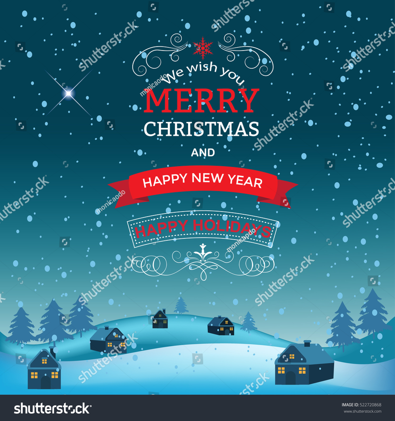 New Year Christmas Greetings Design Winter Stock Vector Hd Royalty