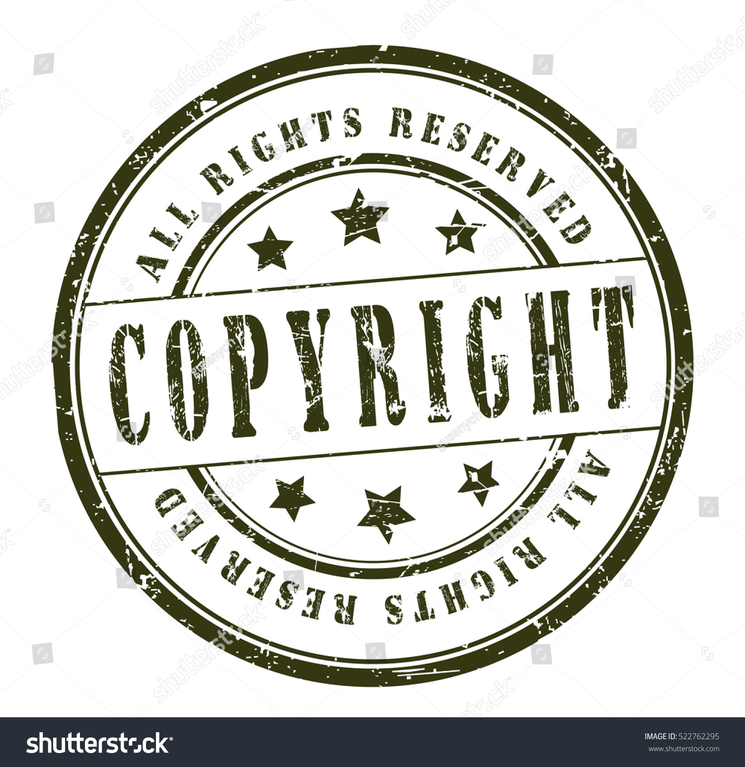 Rubber Stamp Text Copyright All Rights Stock Vector 522762295