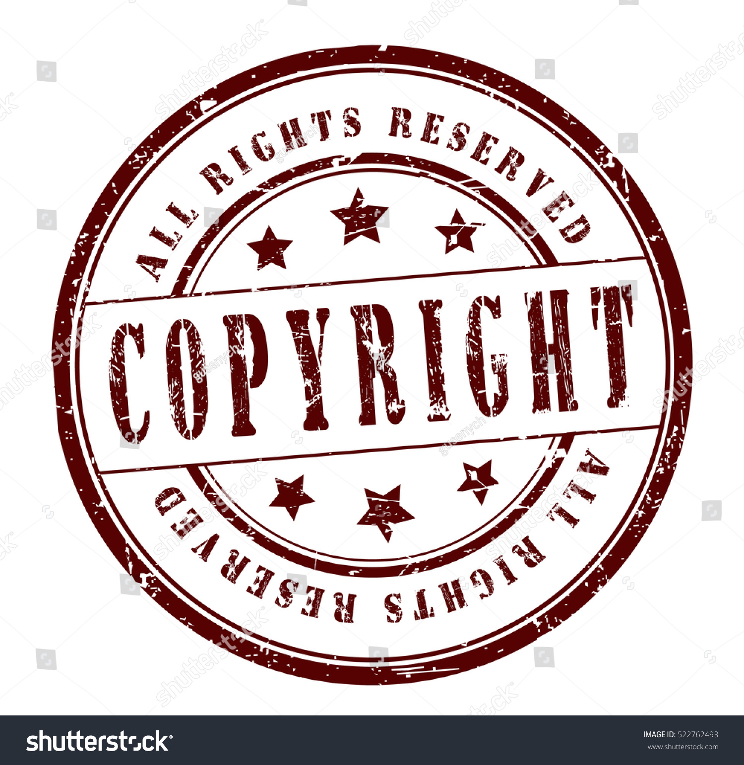 Rubber Stamp Text Copyright All Rights Stock Vector 522762493