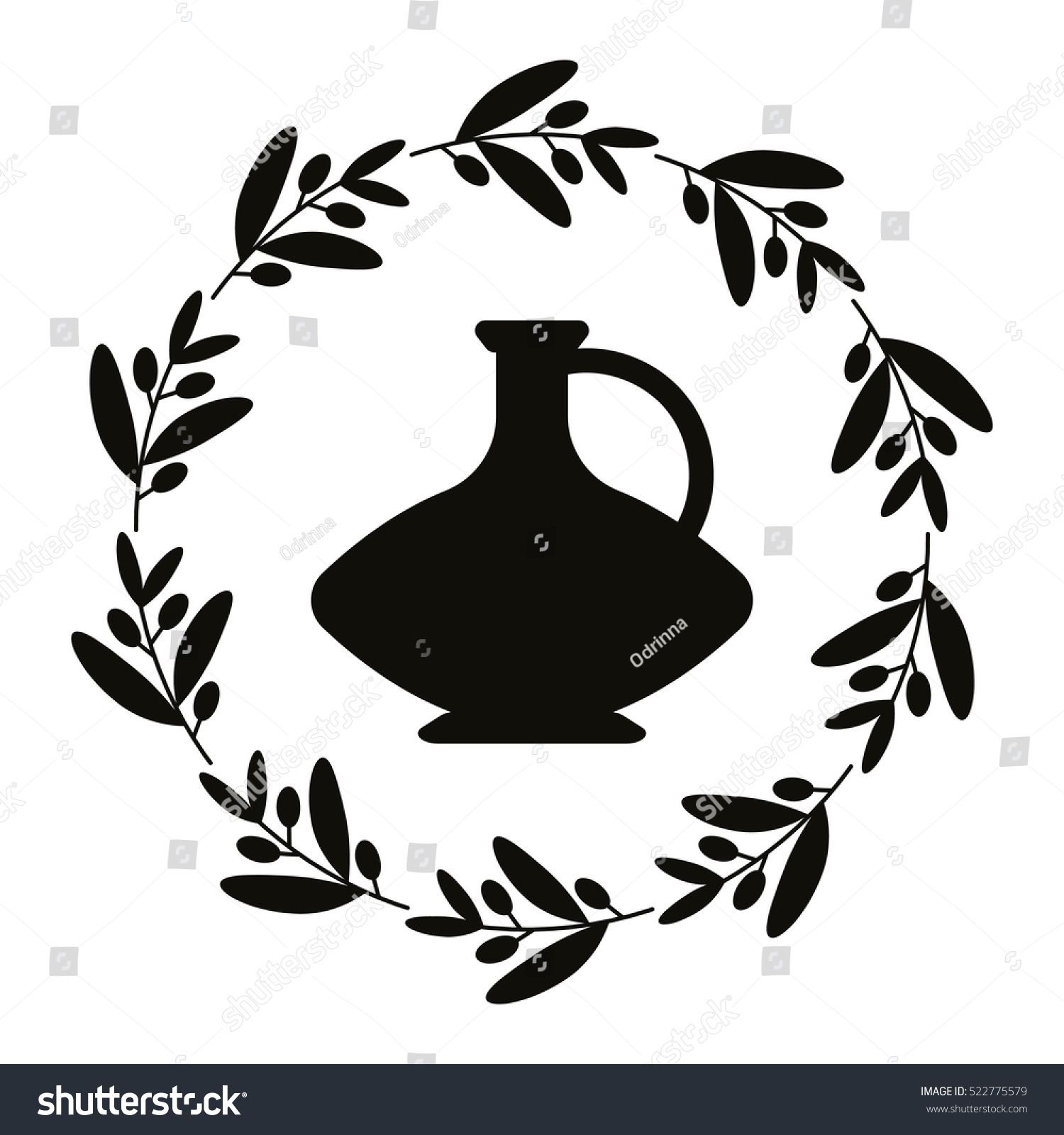 Ancient logo jug olive branch greek stock vector 522775579 ancient logo with jug and olive branch greek black vase with olive oil isolated on reviewsmspy
