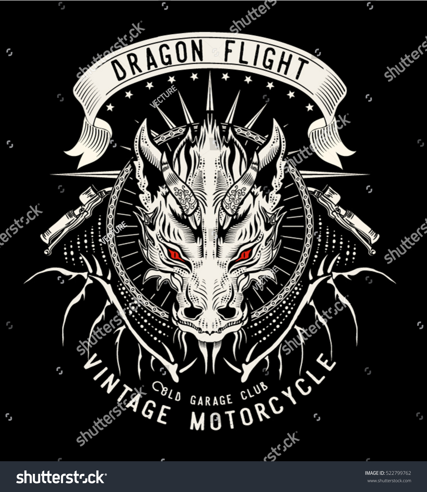 Dragon flightvintage motorcycle garage clubvector for Tattoo art club