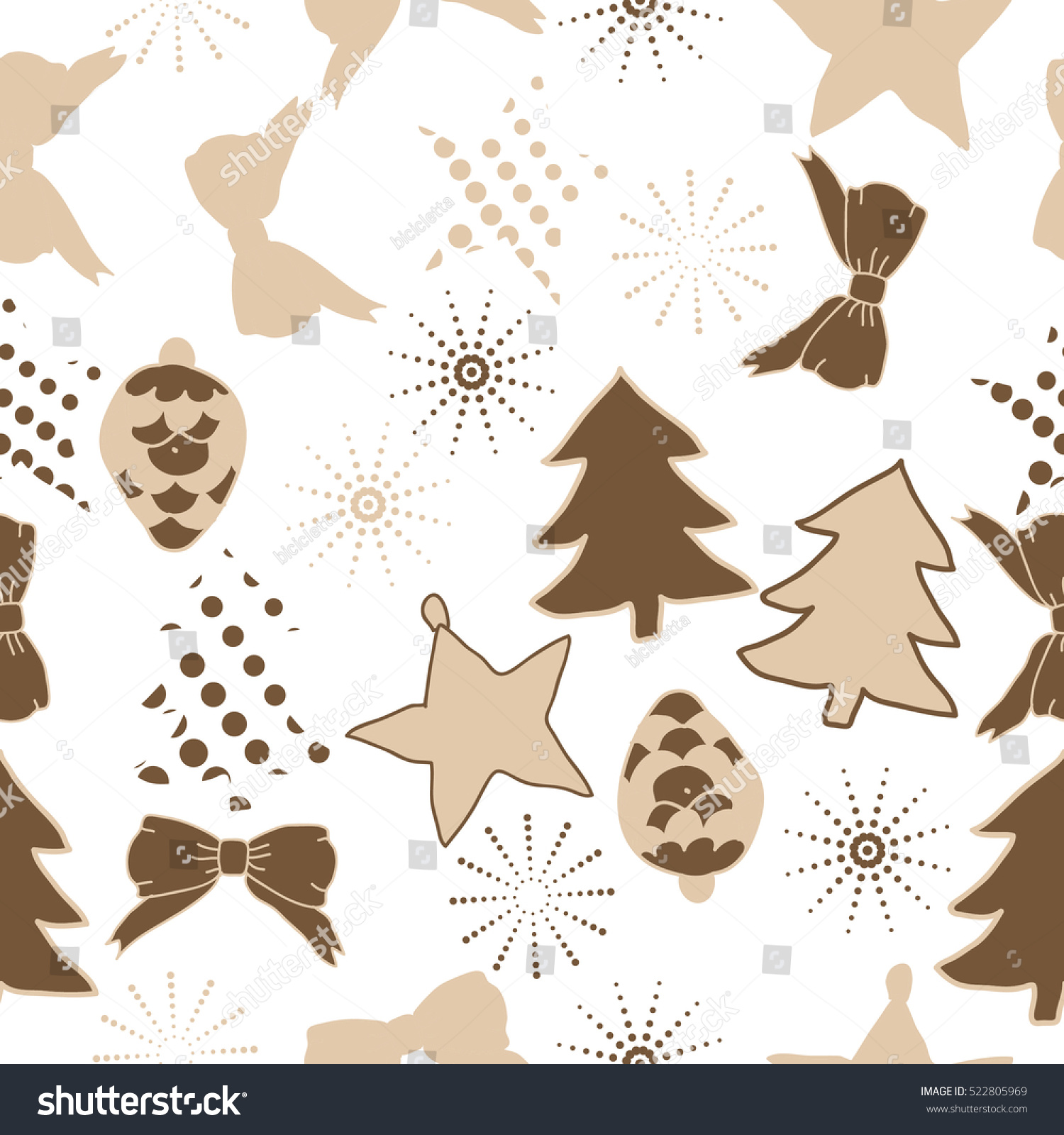 Seamless Pattern Of Christmas Decorations,Hand Drawn