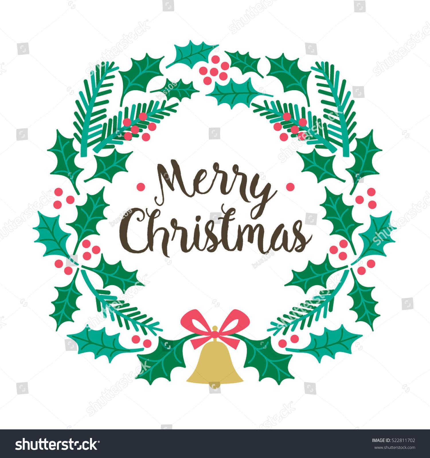 Merry Christmas Card Design Christmas Wreath Stock Vector 522811702
