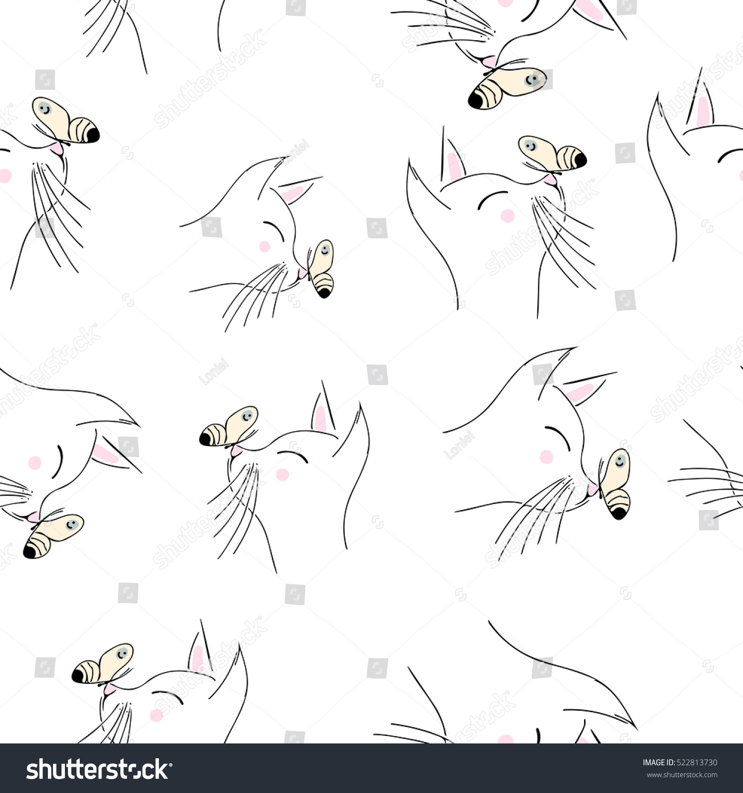 Popular Wallpaper Cat Butterfly - stock-vector-seamless-vector-pattern-with-cat-and-butterfly-perfect-for-wrapping-paper-wallpaper-repeating-522813730  Pictures_569312 .jpg