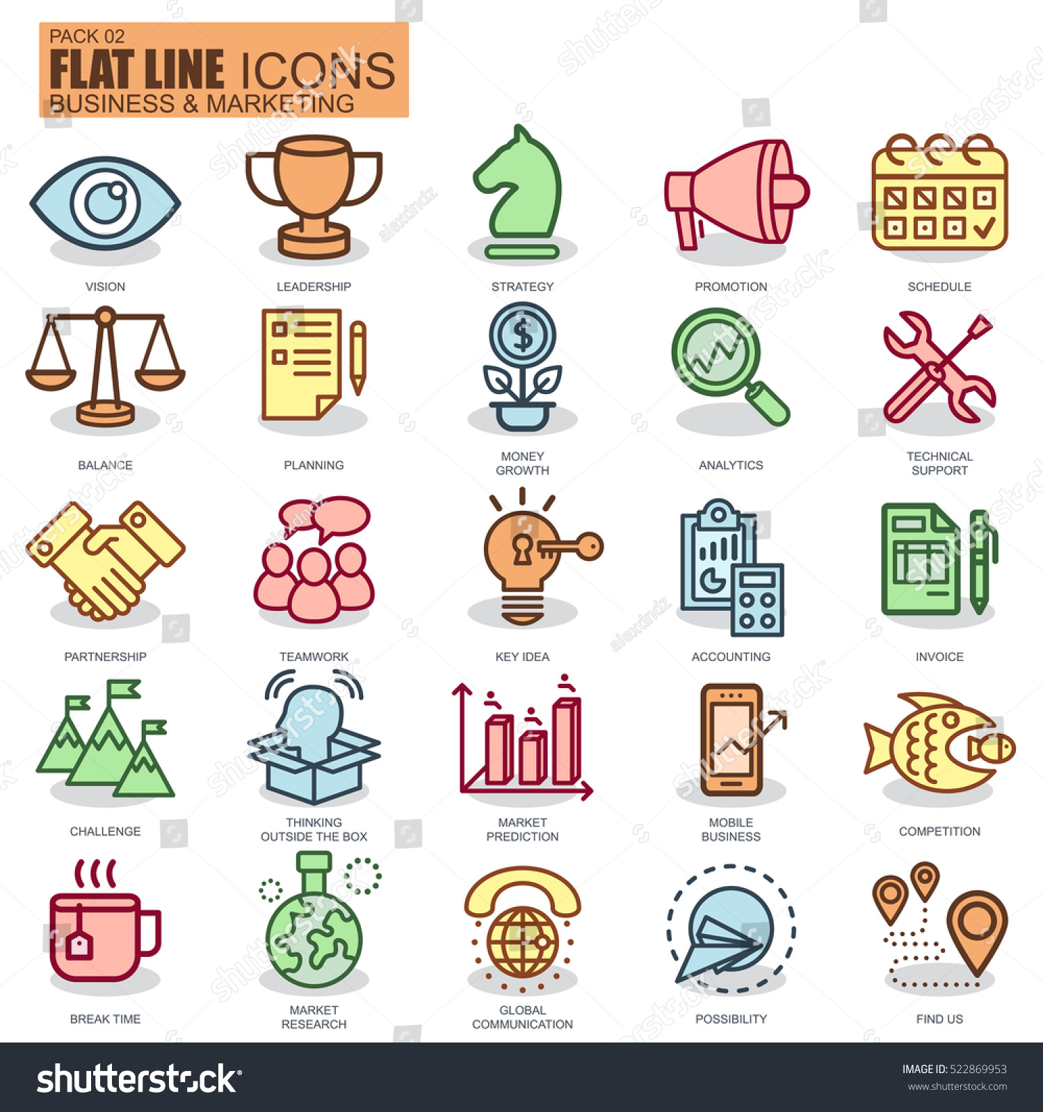 Thin line business and marketing icons set for website and mobile site and apps Pixel Perfect New style simple linear icon with flat shadow