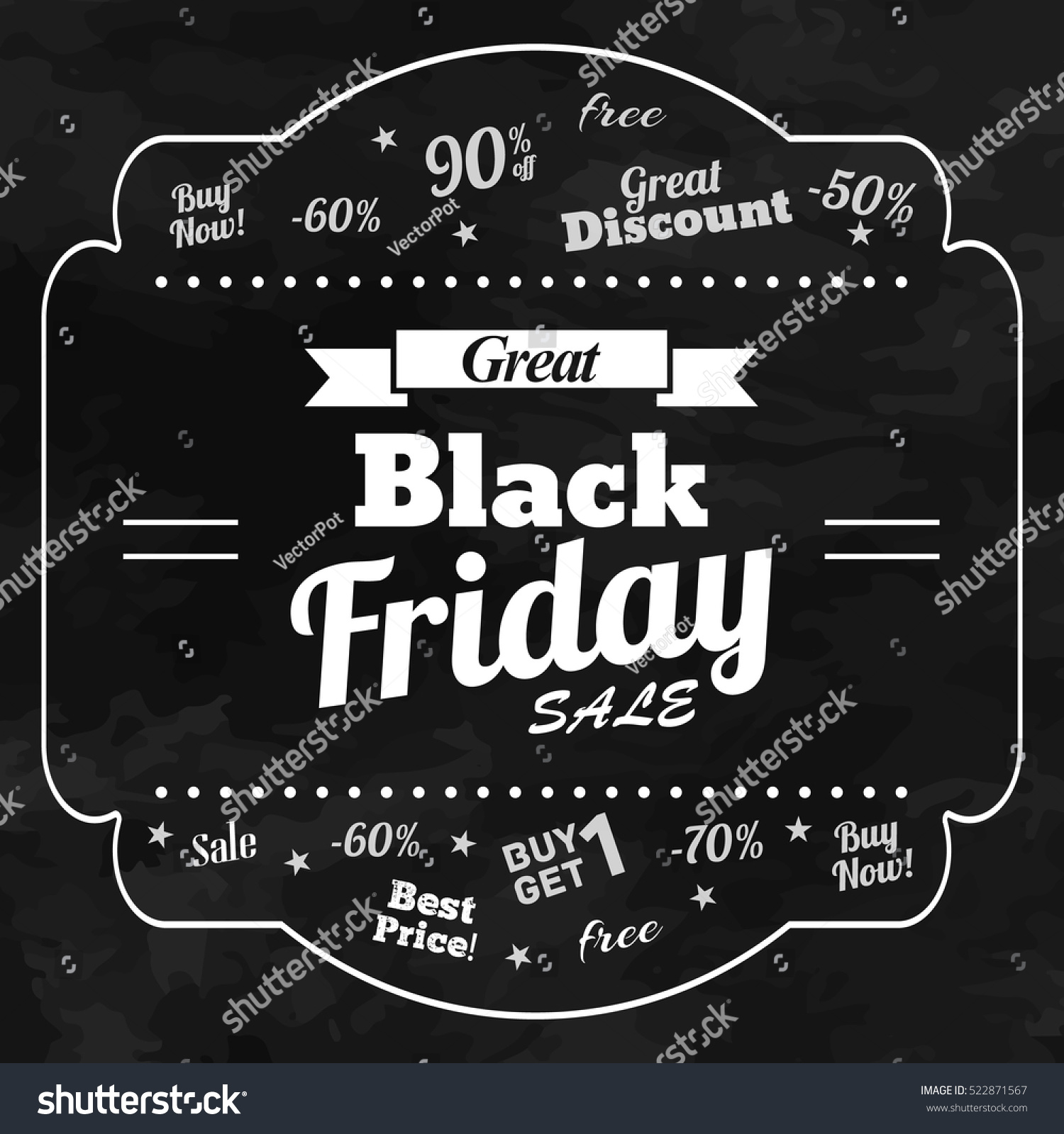 great black friday chalkboard background slogans stock vector