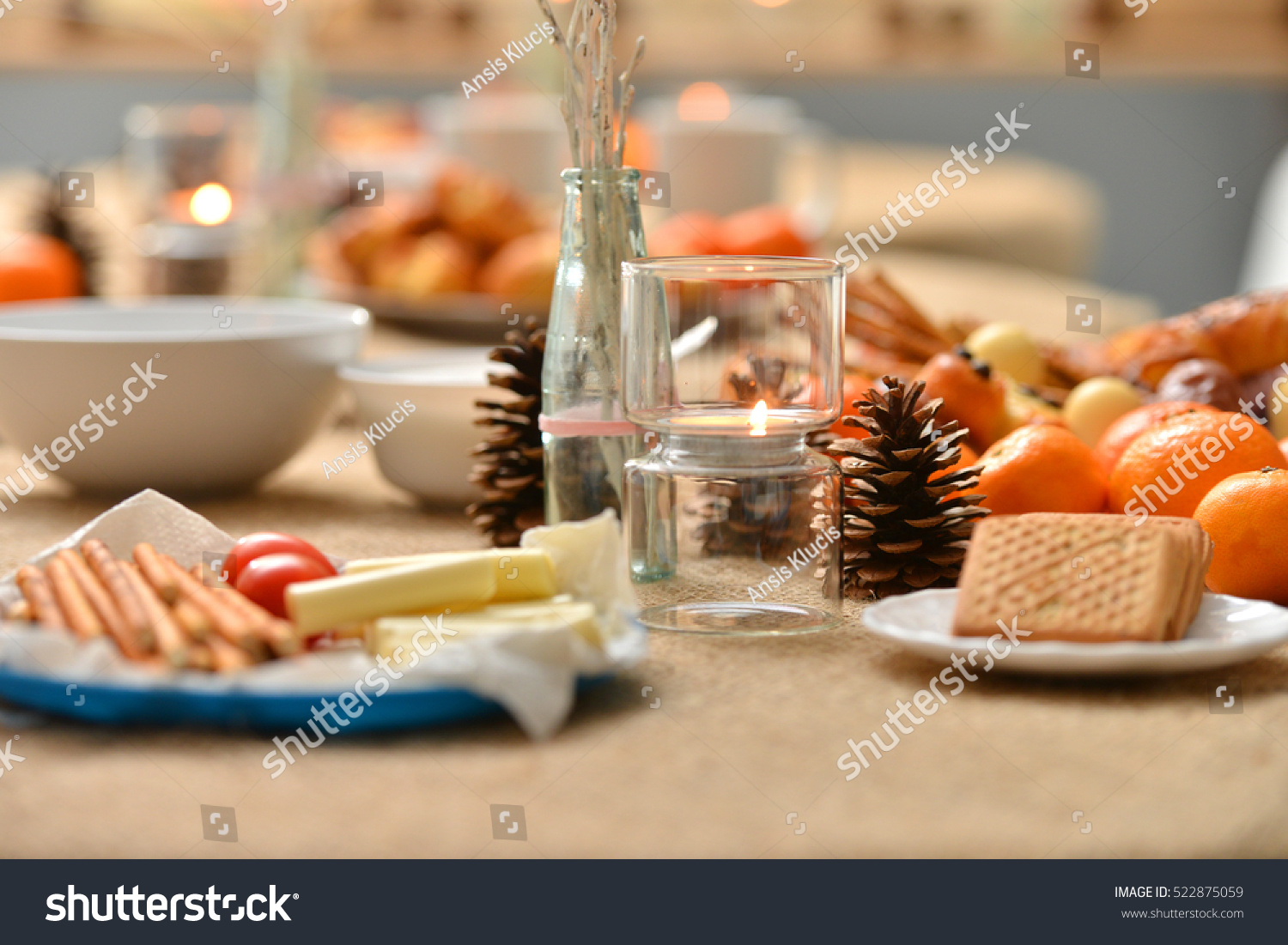 Christmas Decoration On Snack Table Stock Photo (Royalty Free ...