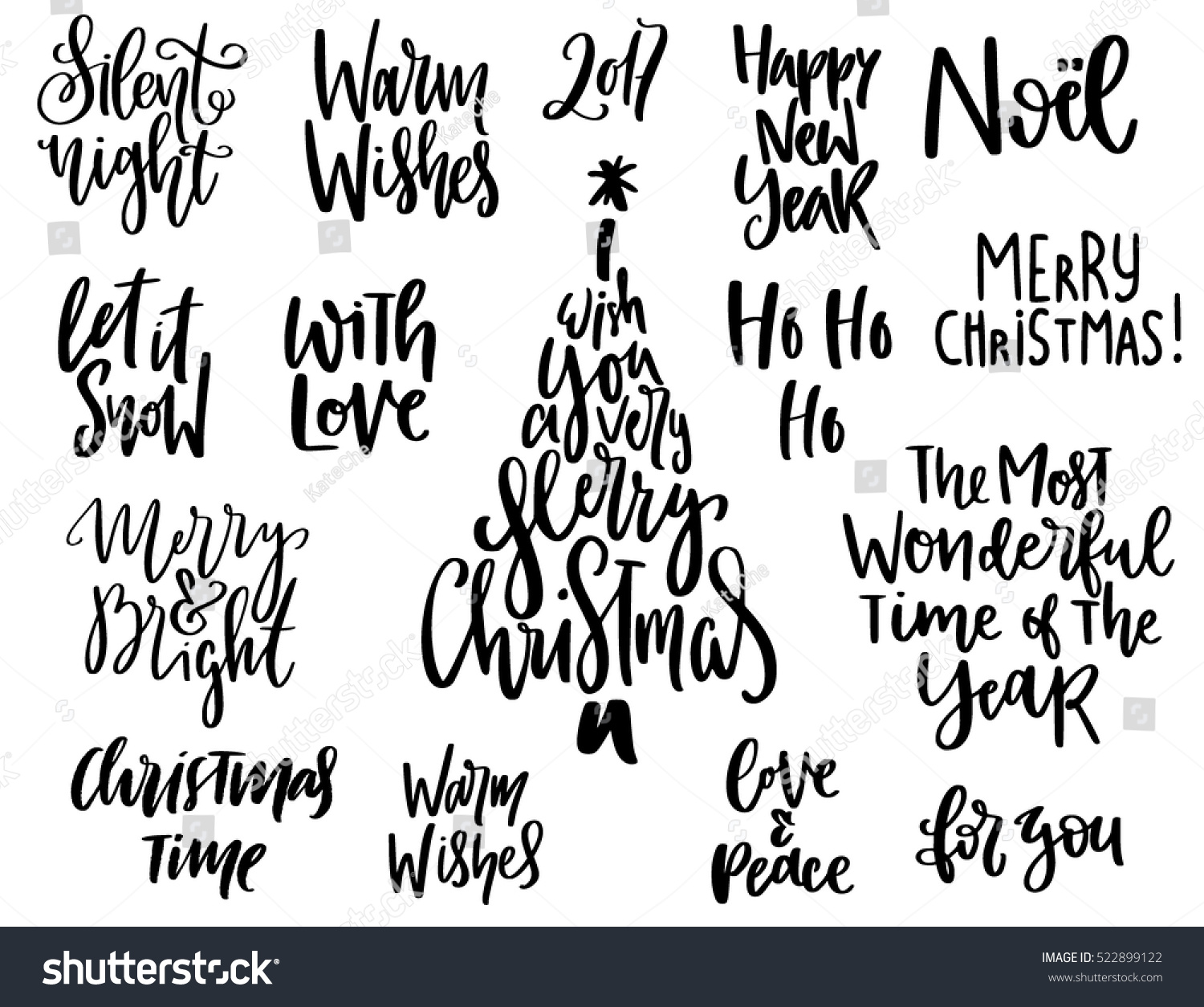Set handwritten christmas quotes wishes modern stock