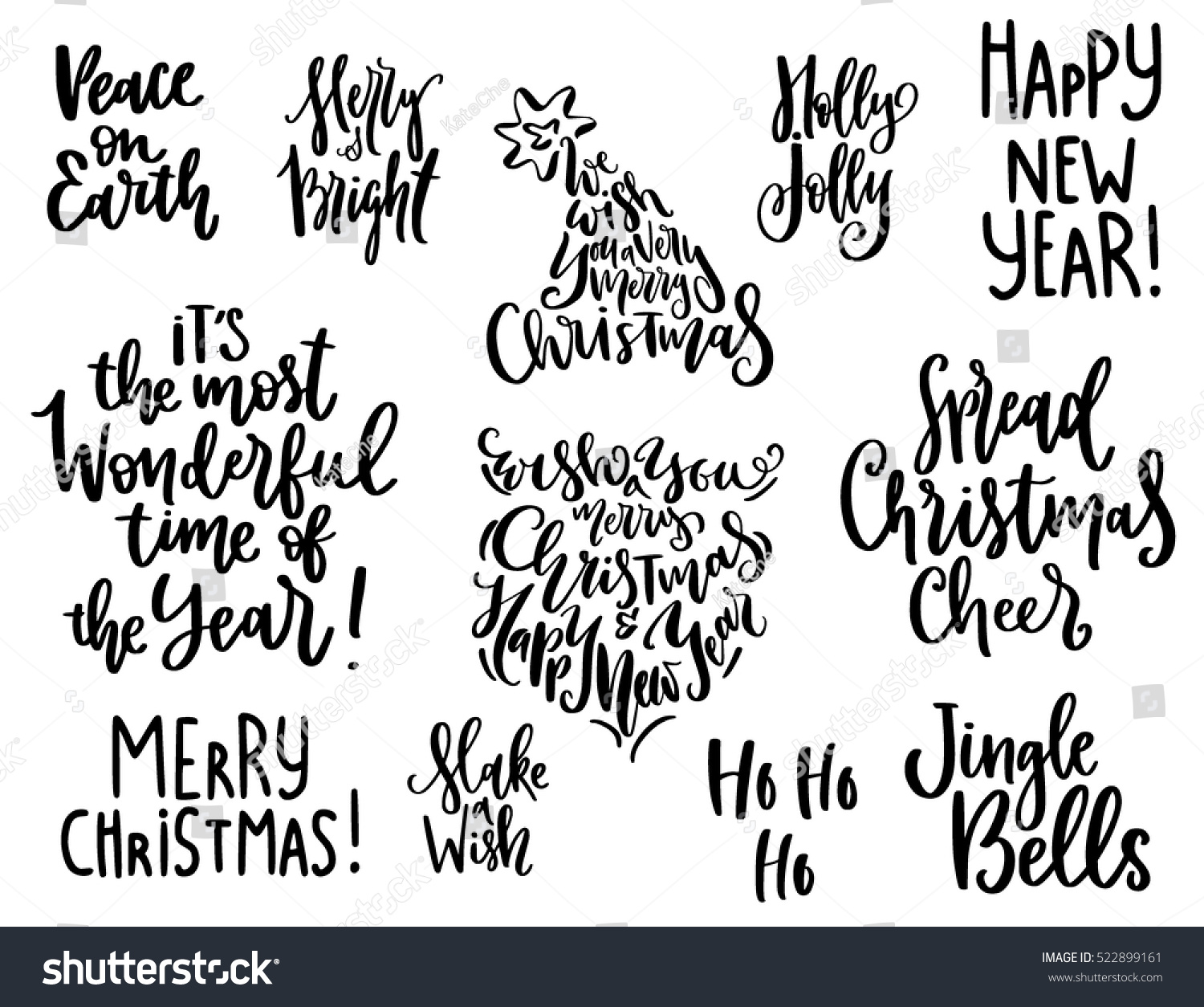 Quotes Christmas Set Handwritten Christmas Quotes Wishes Modern Stock Vector