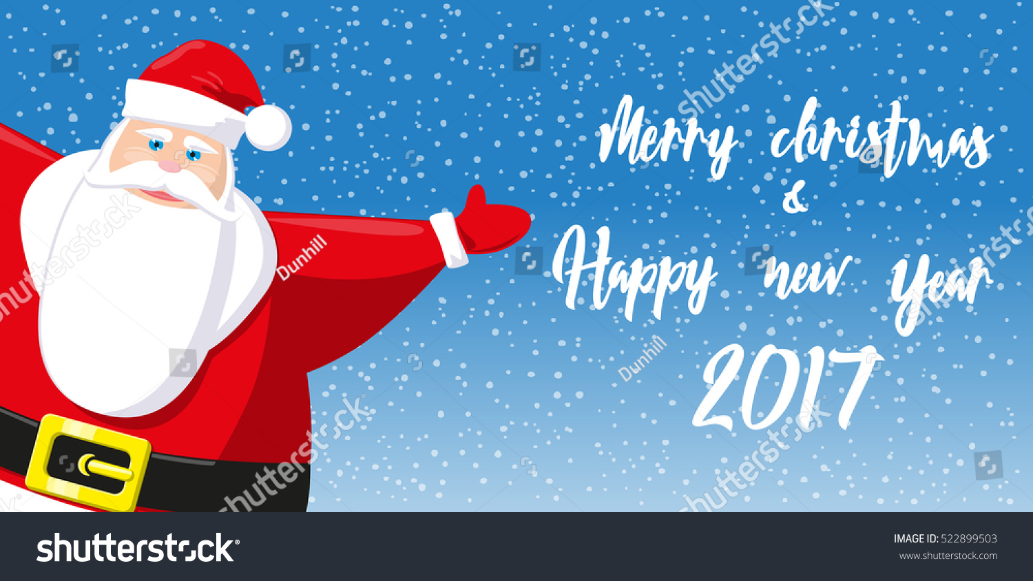 merry christmas and happy new year 2017 banner cute santa claus on background snowflakes