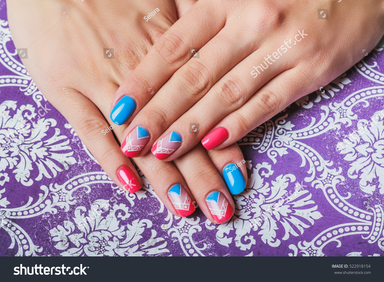 Nail Art Bright Pink Blue Chevron Stock Photo 522918154 - Shutterstock