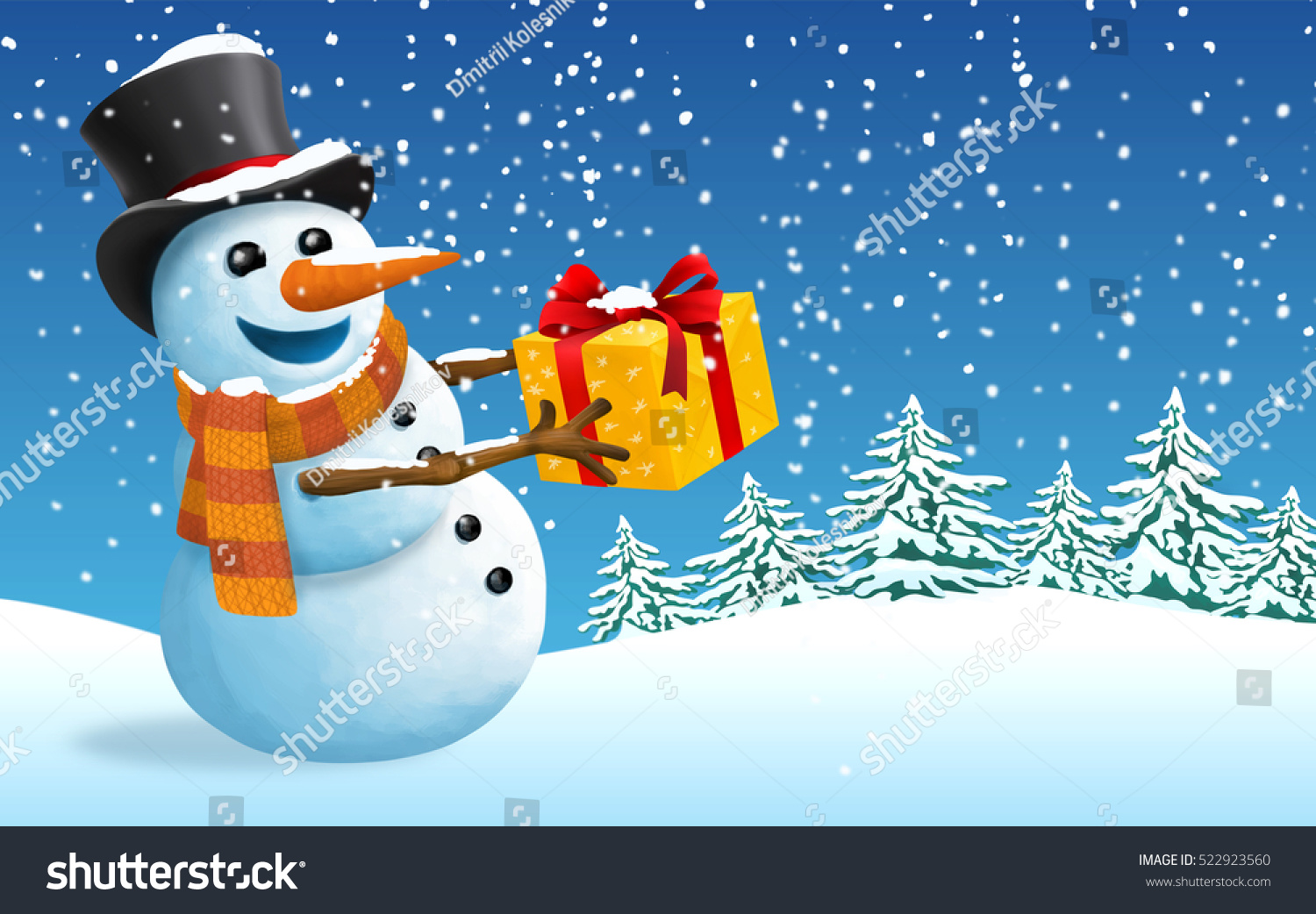Postcard christmas and new year snowman with gift stock