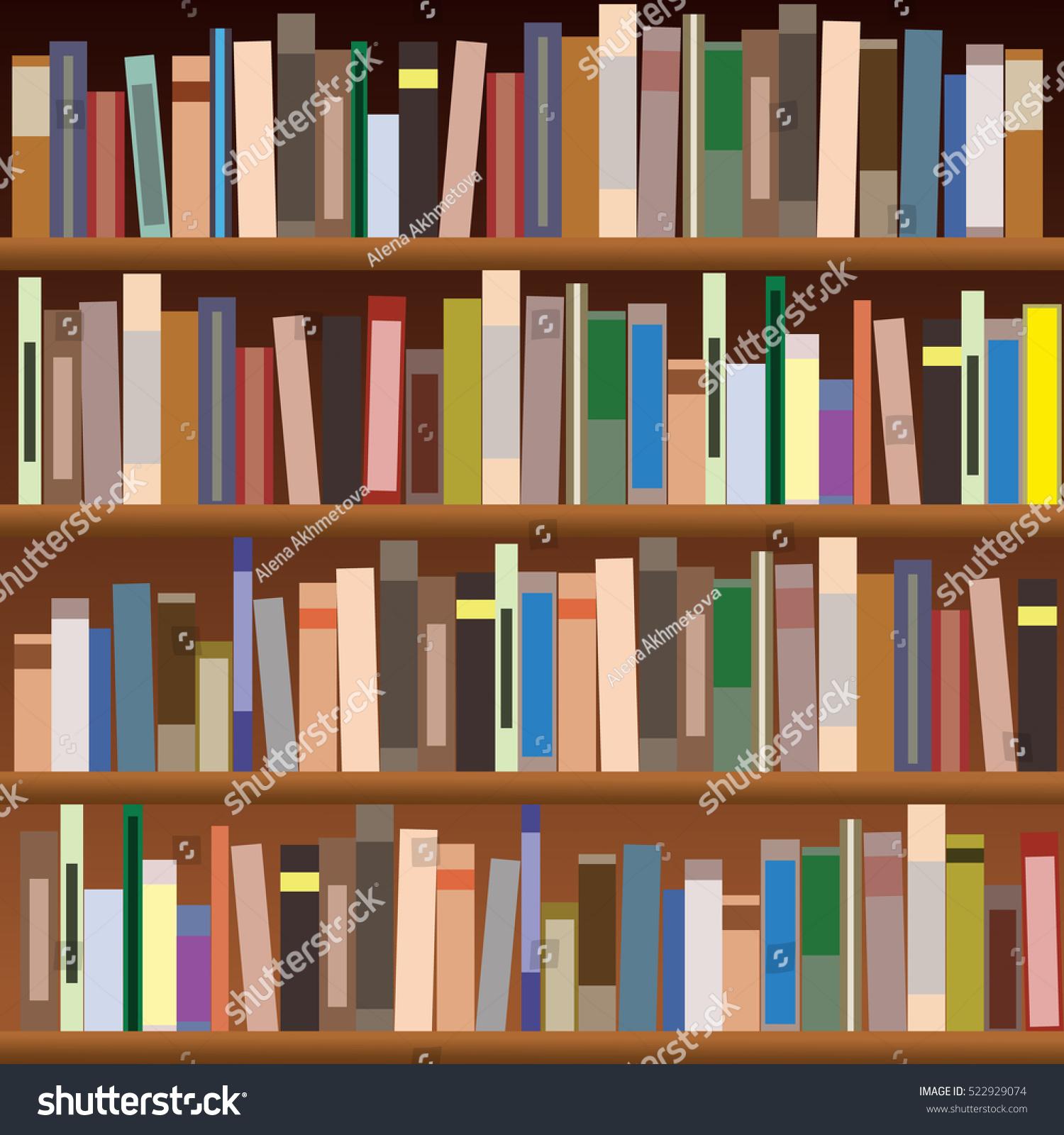 Set Bookshelves Vector Flat Illustration Books Stock
